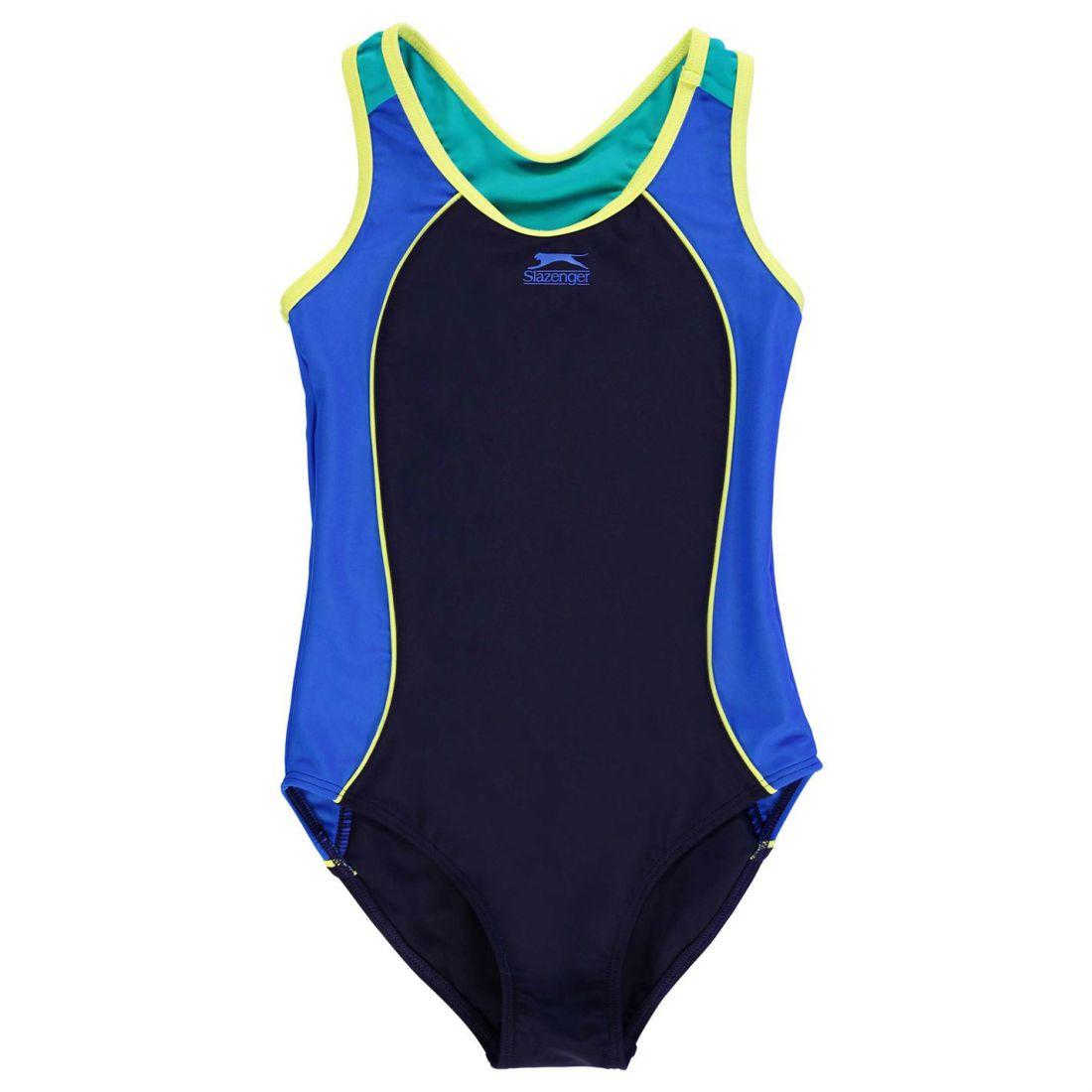Slazenger Racer Back Suit Junior Swim Swimsuit Casual Girls Children