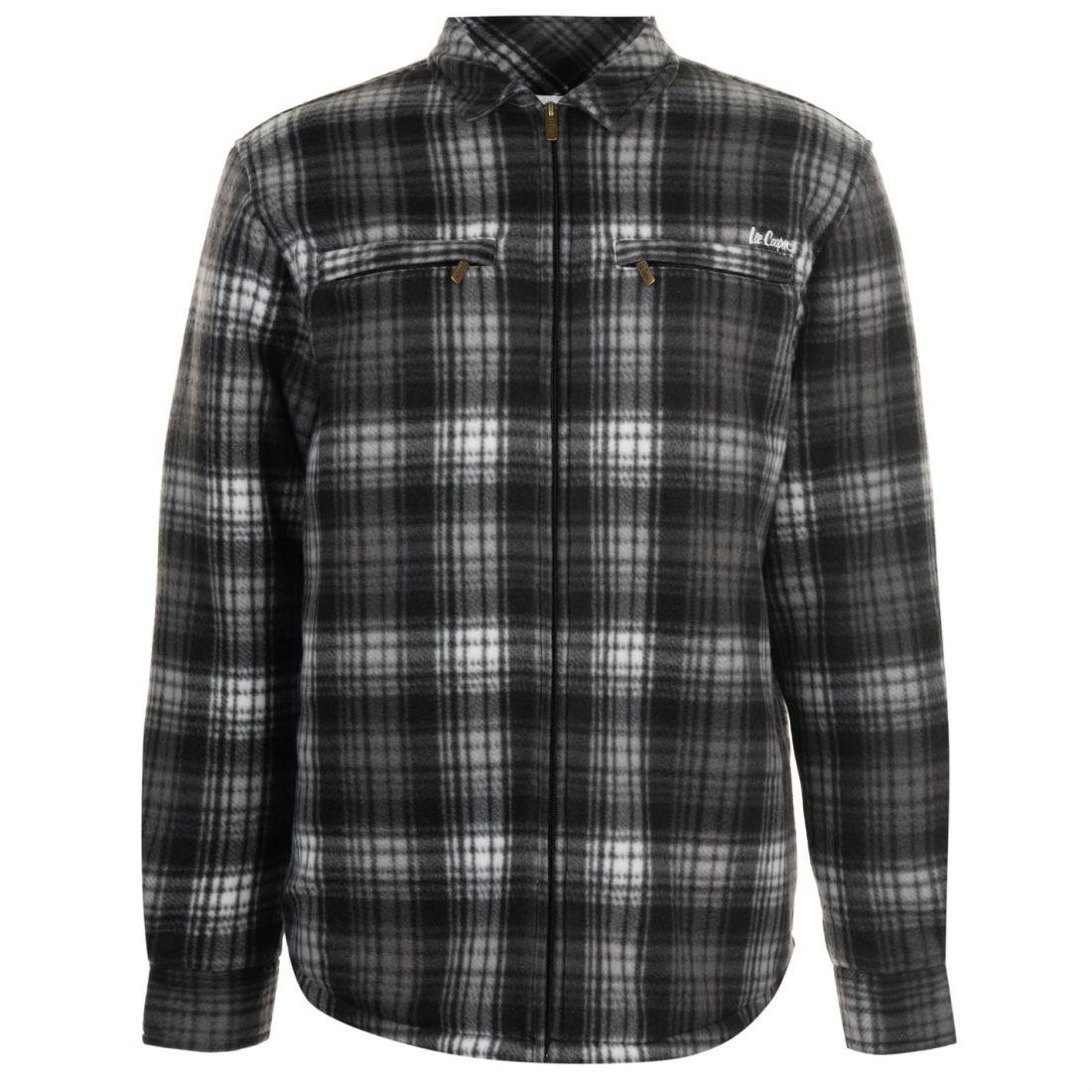Lee Cooper Fleece Lined Zipped Shirt Mens Gents Full Length Sleeve Everyday Zip