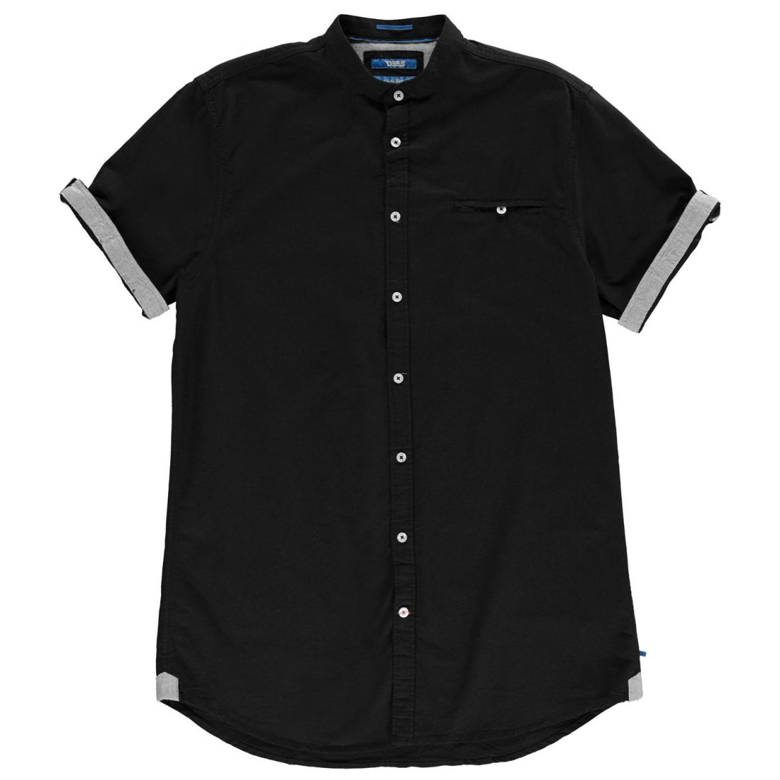 D555 Mens Dwight Oxford Short Sleeve Shirt Casual Cotton Button Placket Chest