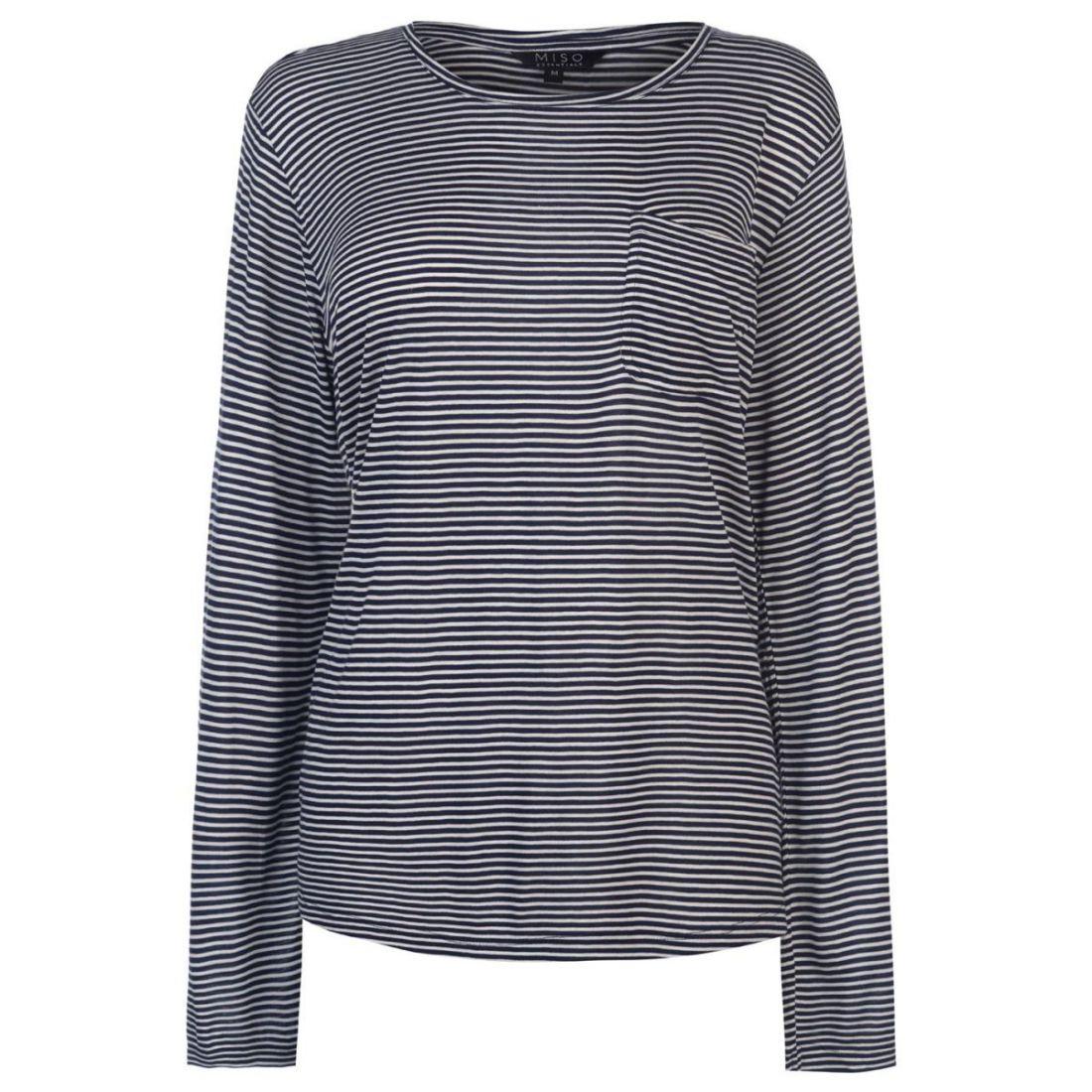 Miso Striped Pocket Top Ladies Shirt Full Length Sleeve Round Neck Lightweight