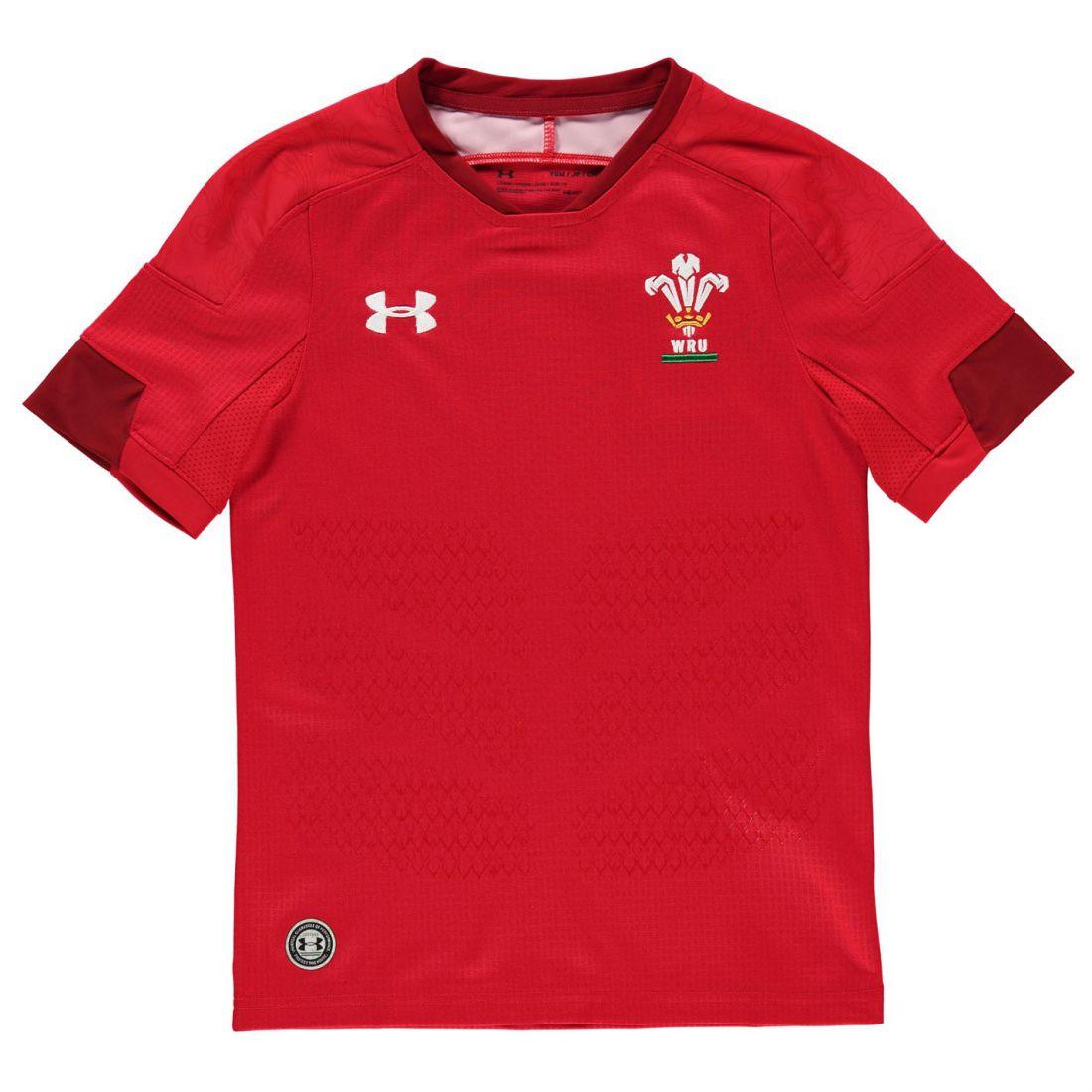 Under Armour Kids Wales Home Rugby Shirt 2017 2018 Junior Short Sleeve HeatGear