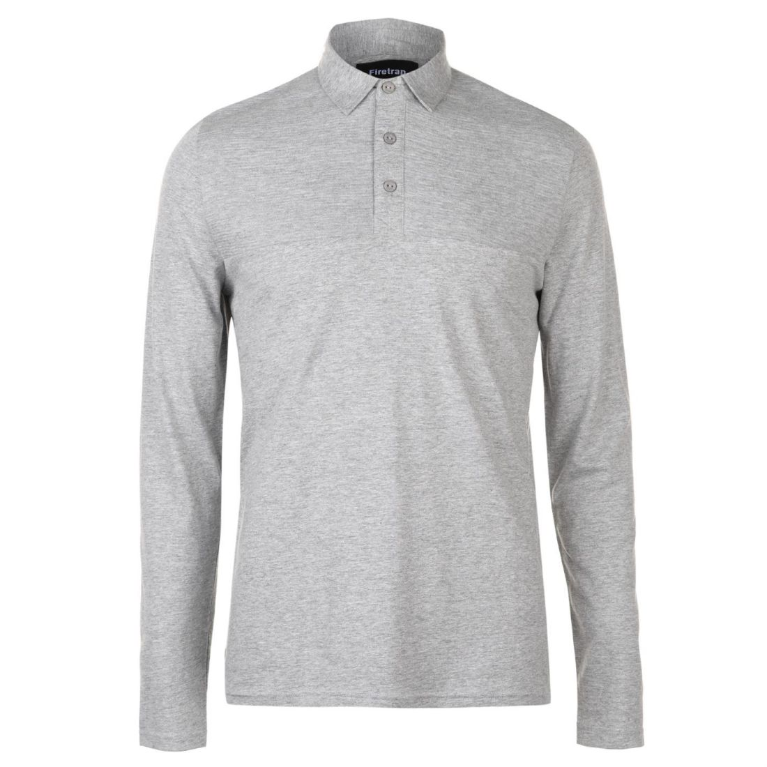 Firetrap Mens Ripple Long Sleeve Polo Shirt Top Lightweight Cotton Button