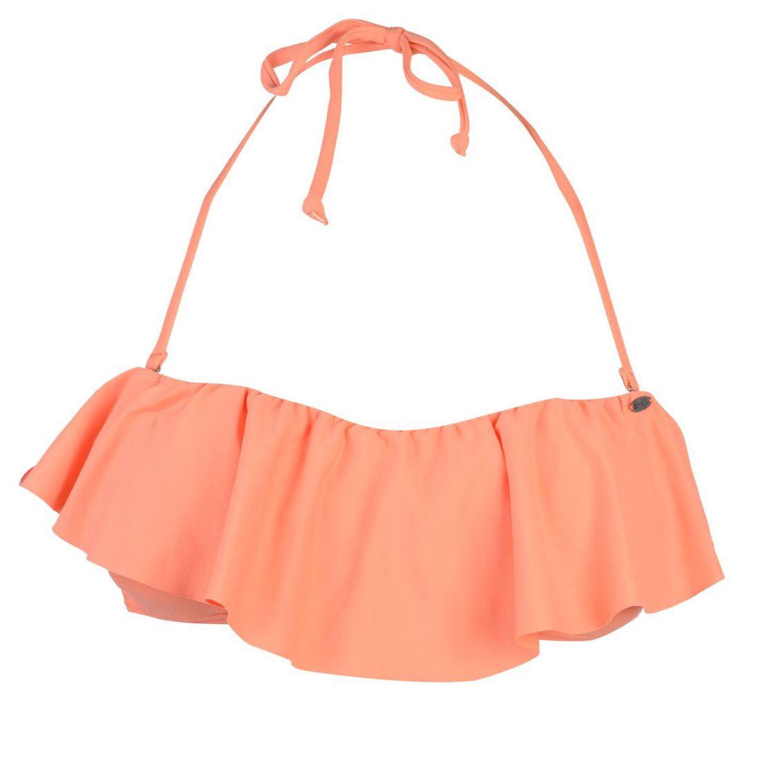 ONeill Ruffle Bikini Top Ladies Block Colour Tie Fastening
