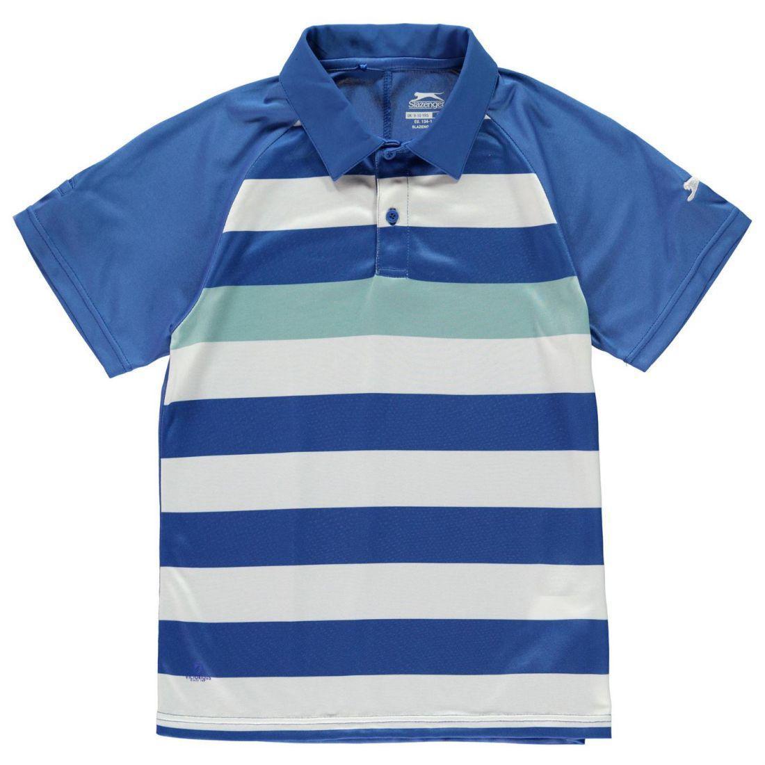 Slazenger Bold Stripe Polo Shirt Youngster Ragazzi Manica Corta Performance Tee Top