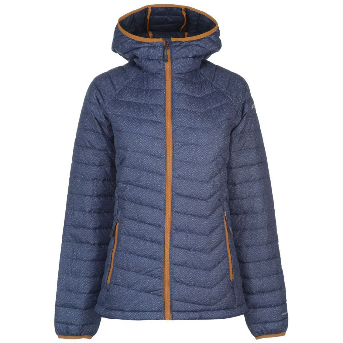 Columbia Powder Jacket Ladies Down Coat Top Full Length Sleeve Chin Guard Hooded
