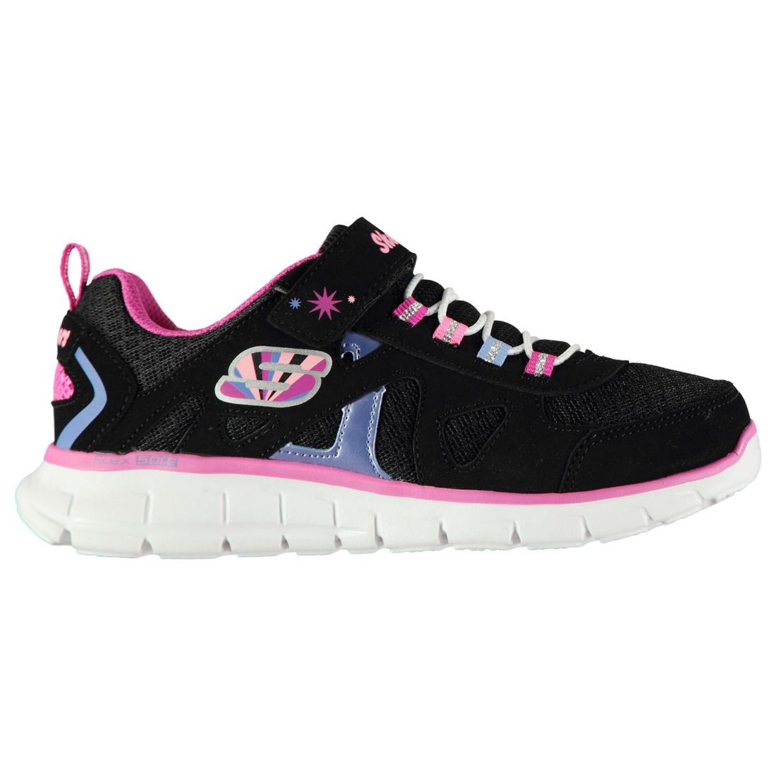 Skechers Vim Brite Childrens Sneakers Runners Elasticated Laces Strap Hook and