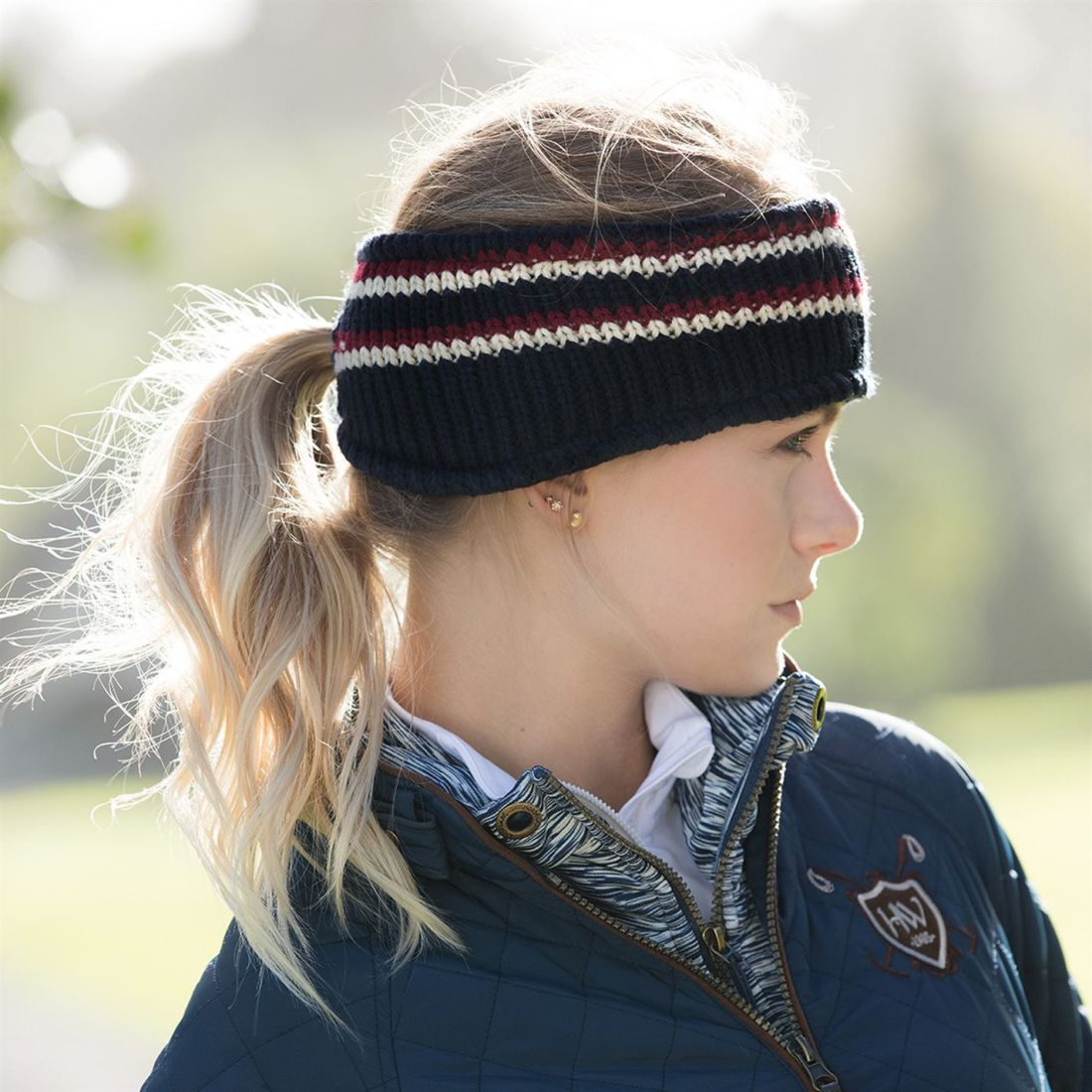 Horseware Stripe Ear Chaud Ladies Headband Chaud Knitwear Pony