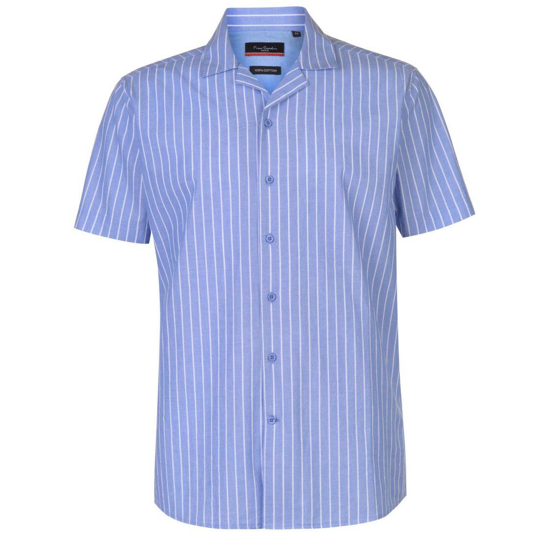 Pierre Cardin Reverse Stripe Shirt Mens Gents Short Sleeve Everyday Lightweight