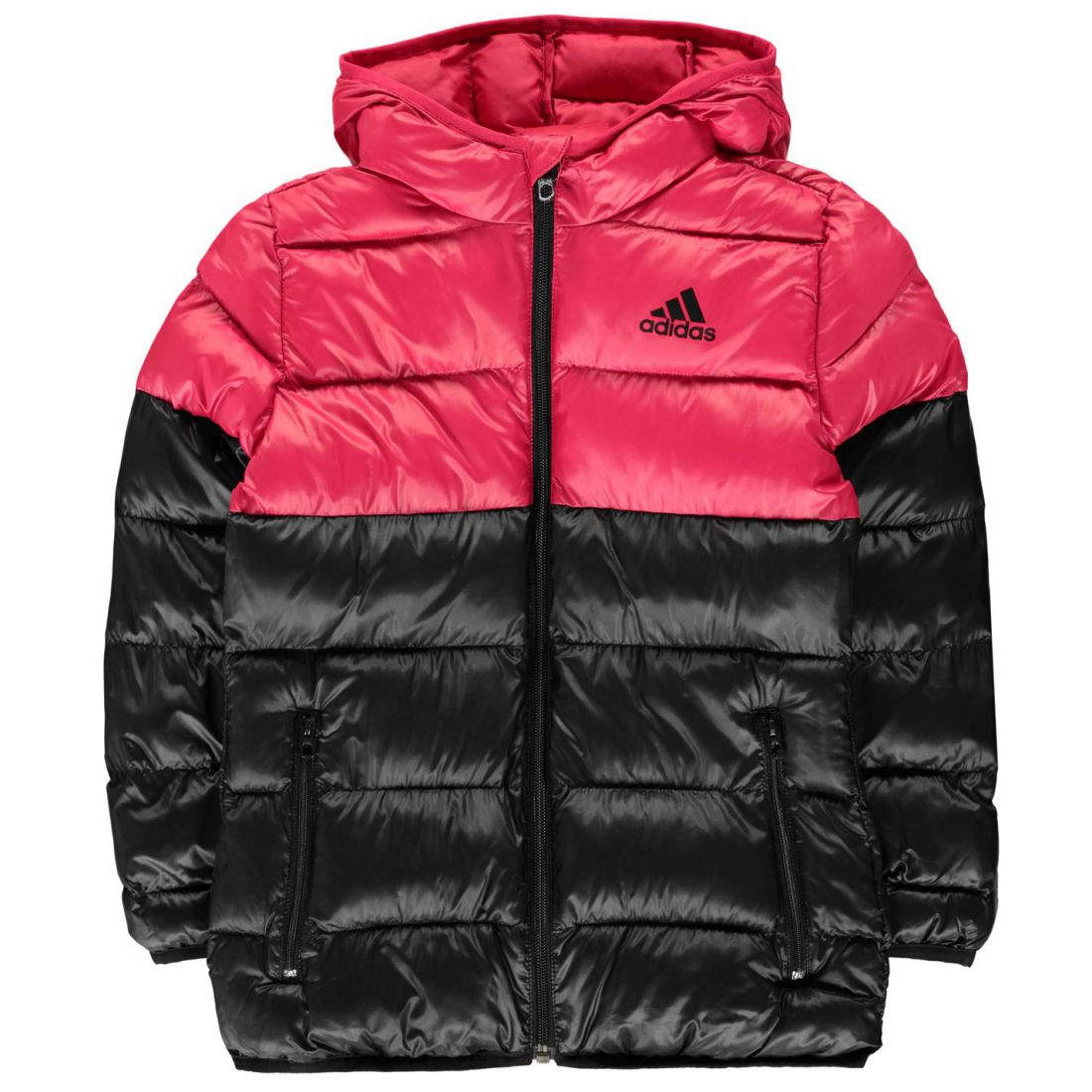 adidas Padded Jacket Youngster Girls Coat Top Full Length Sleeve Hooded Zip