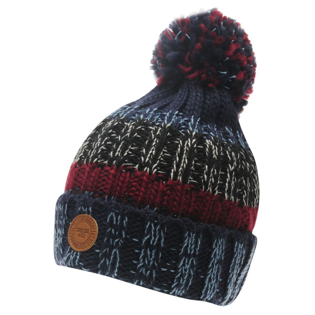 SoulCal Canloan Hat Mens Gents Bobble Stripe Warm Marl Striped Knitwear