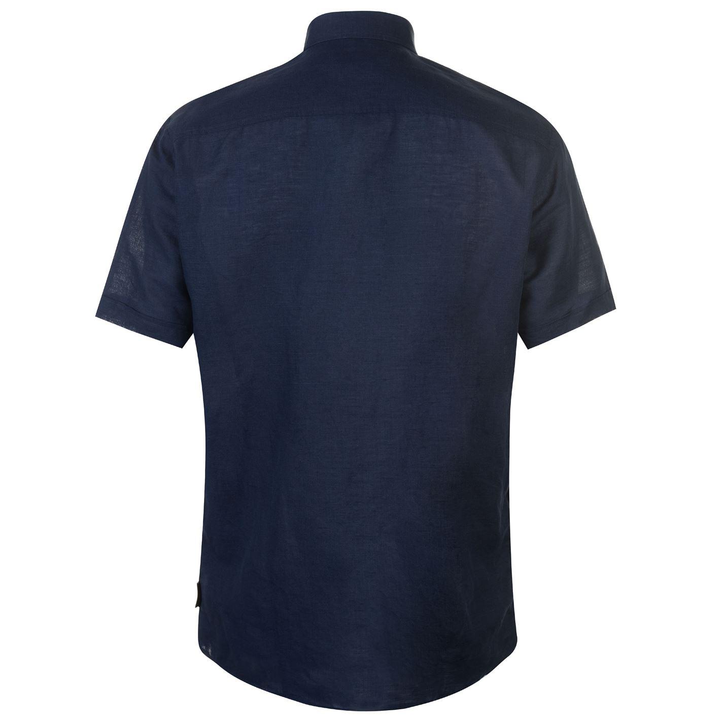 Pierre CARDIN Camicia Lino Uomo Gents manica corta REGULAR FIT TIMBRO tasca sul petto