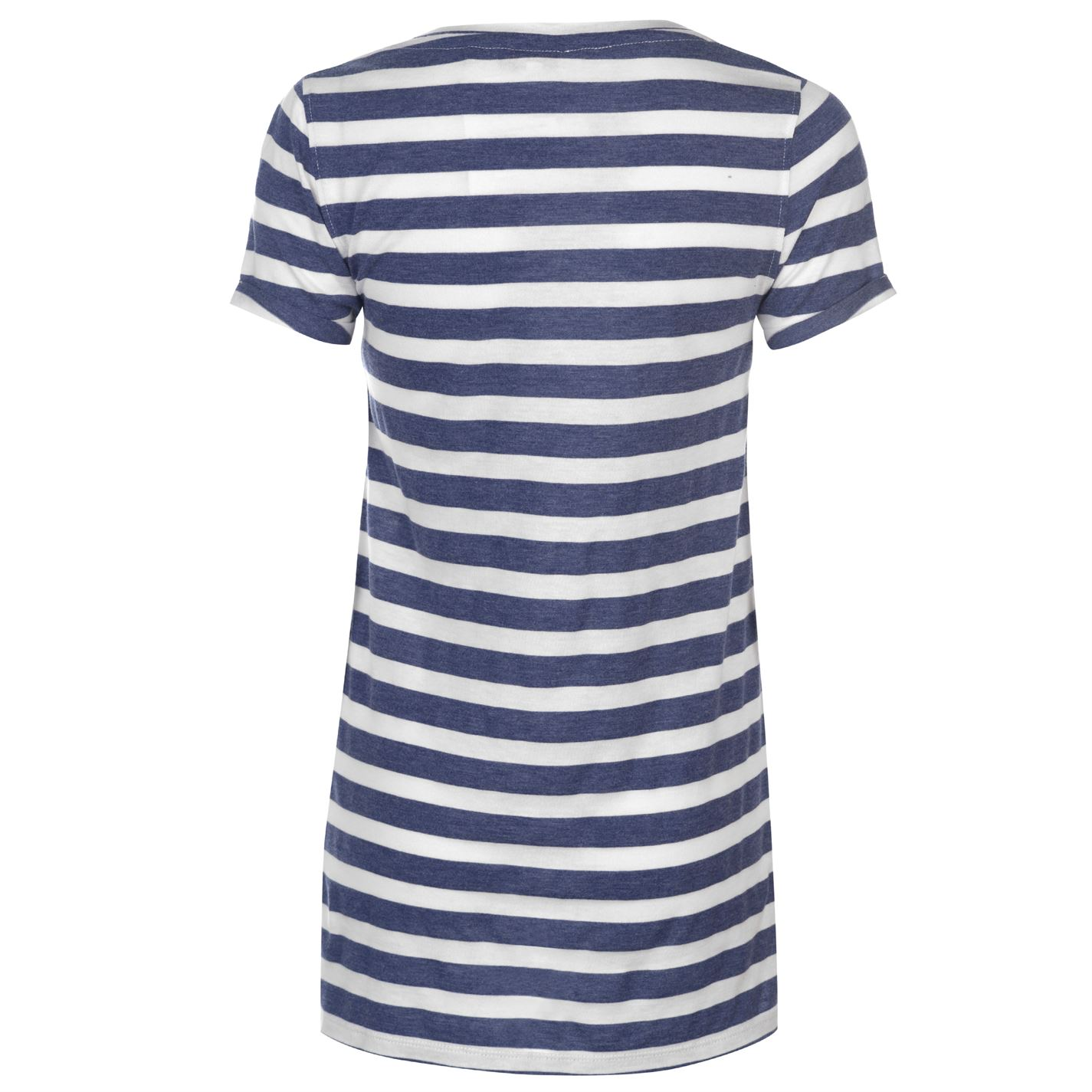 SoulCal V Neck Stripe T Shirt Ladies Tee Top Short Sleeve Pattern Athletic