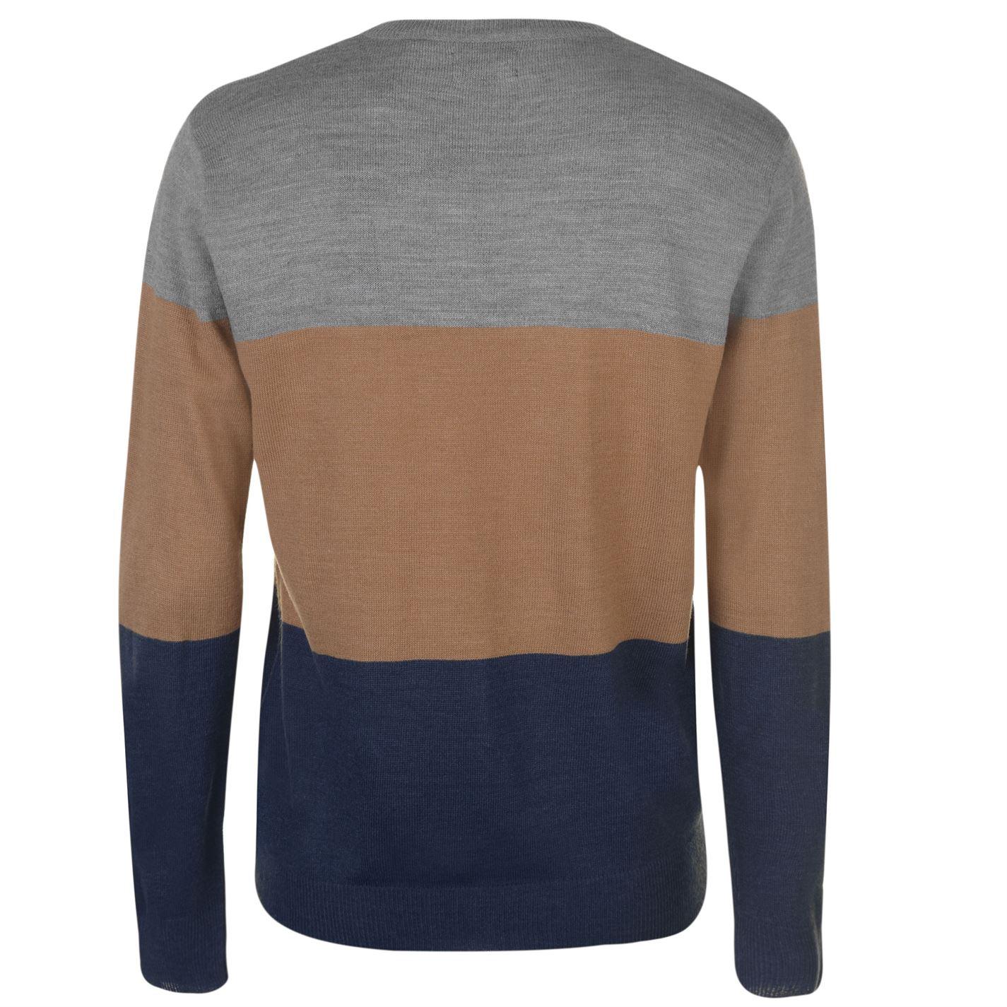 Pierre Cardin Mens Block Colour V Neck Knit Jumper Sweater Pullover Regular Fit