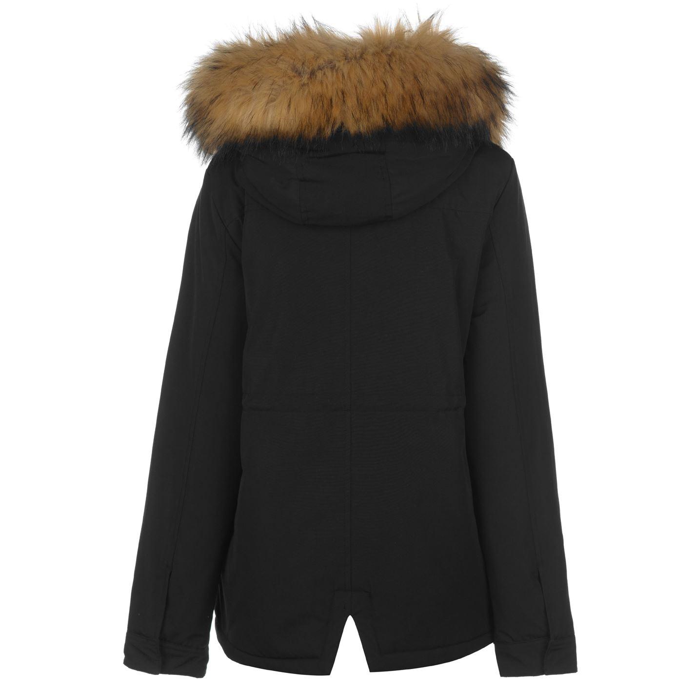 Kangol Pintuck Parka Jacket Ladies Coat Top Full Length Sleeve Hooded Zip Zipped