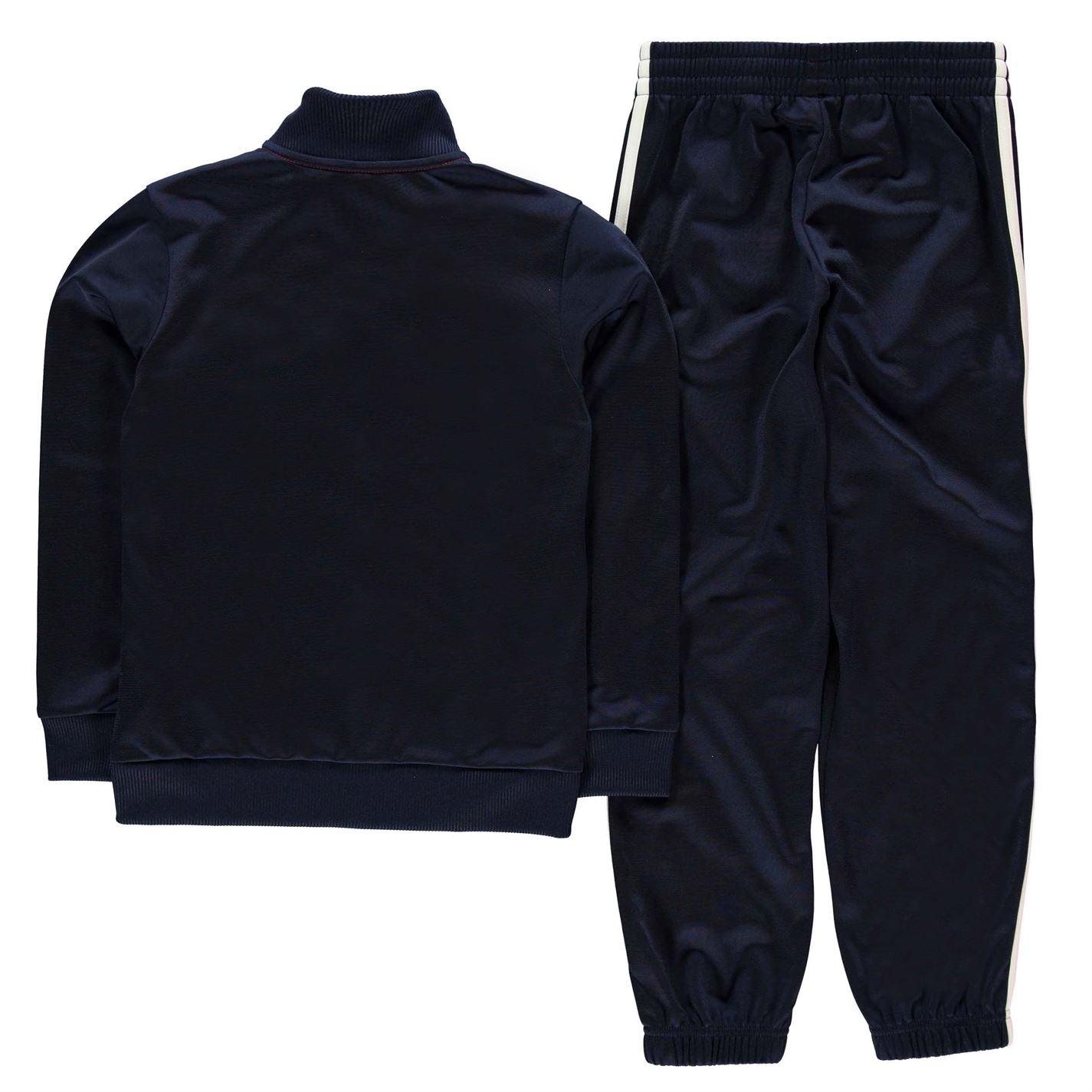 adidas Kids Boys Tiberio Closed Hem Tracksuit Junior Poly Long Sleeve Zip Stripe