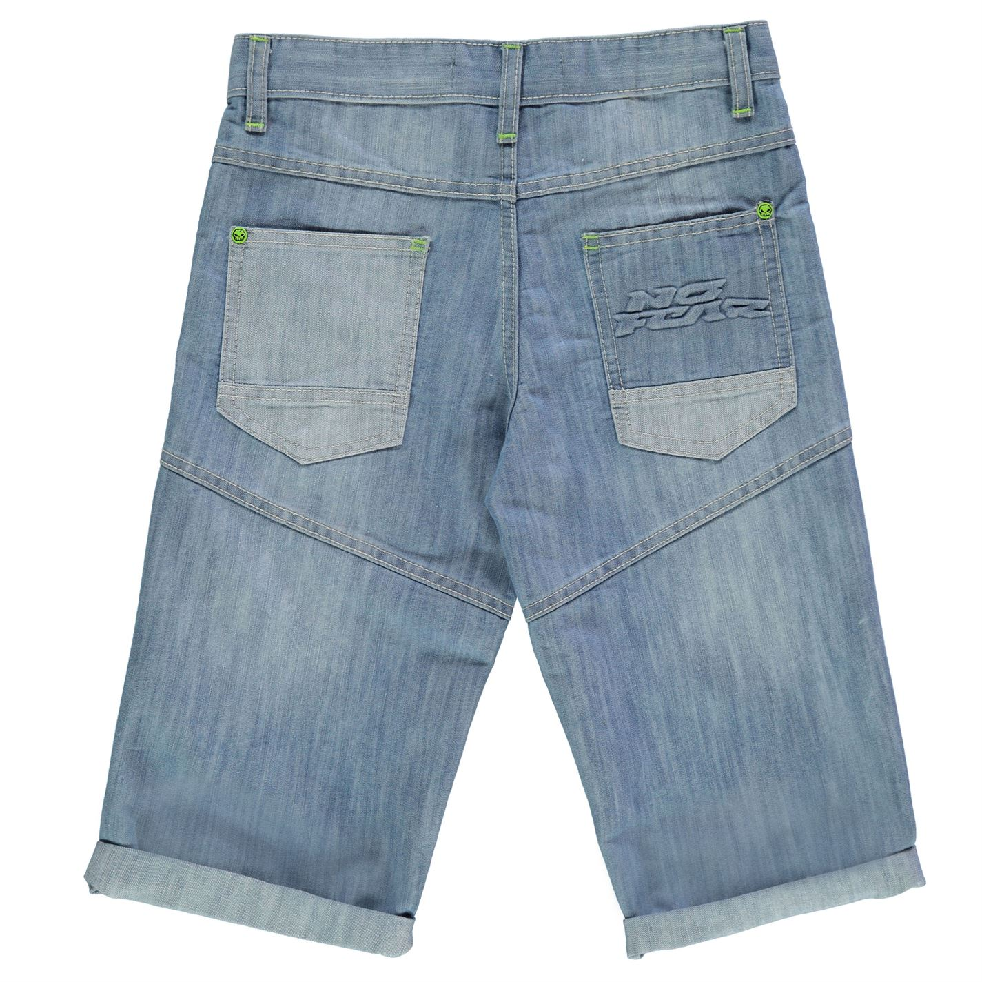 No Fear Kids Boys Badge Shorts Junior Denim Pants Trousers Bottoms Zip