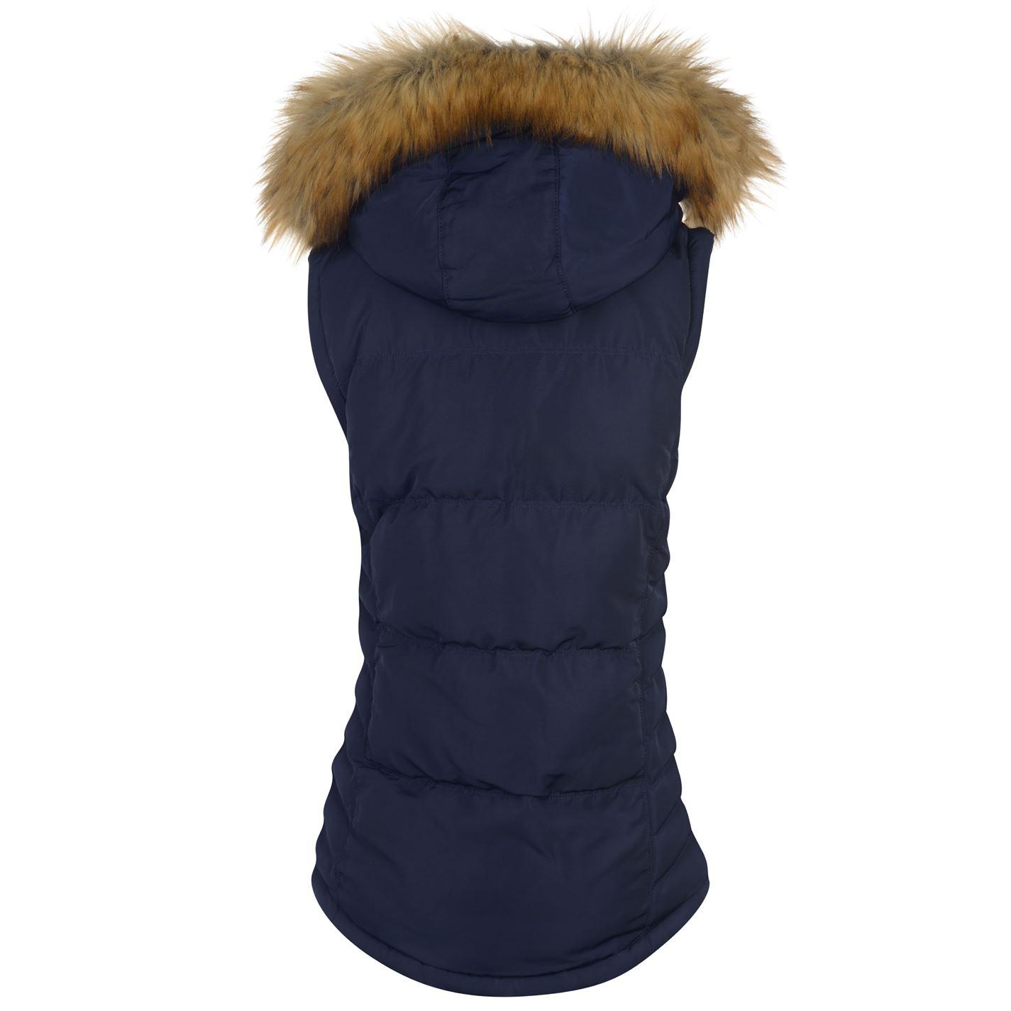 Soulcal 2 zip gilet femmes veste sans manches à capuche zippé chaud à Doublure en fourrure synthétique