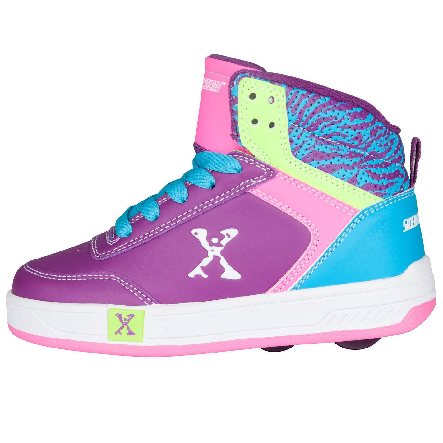 Sidewalk Sport Childrens Girl Hi Top Skate Laces Fastened Wheeled Shoes Footwear