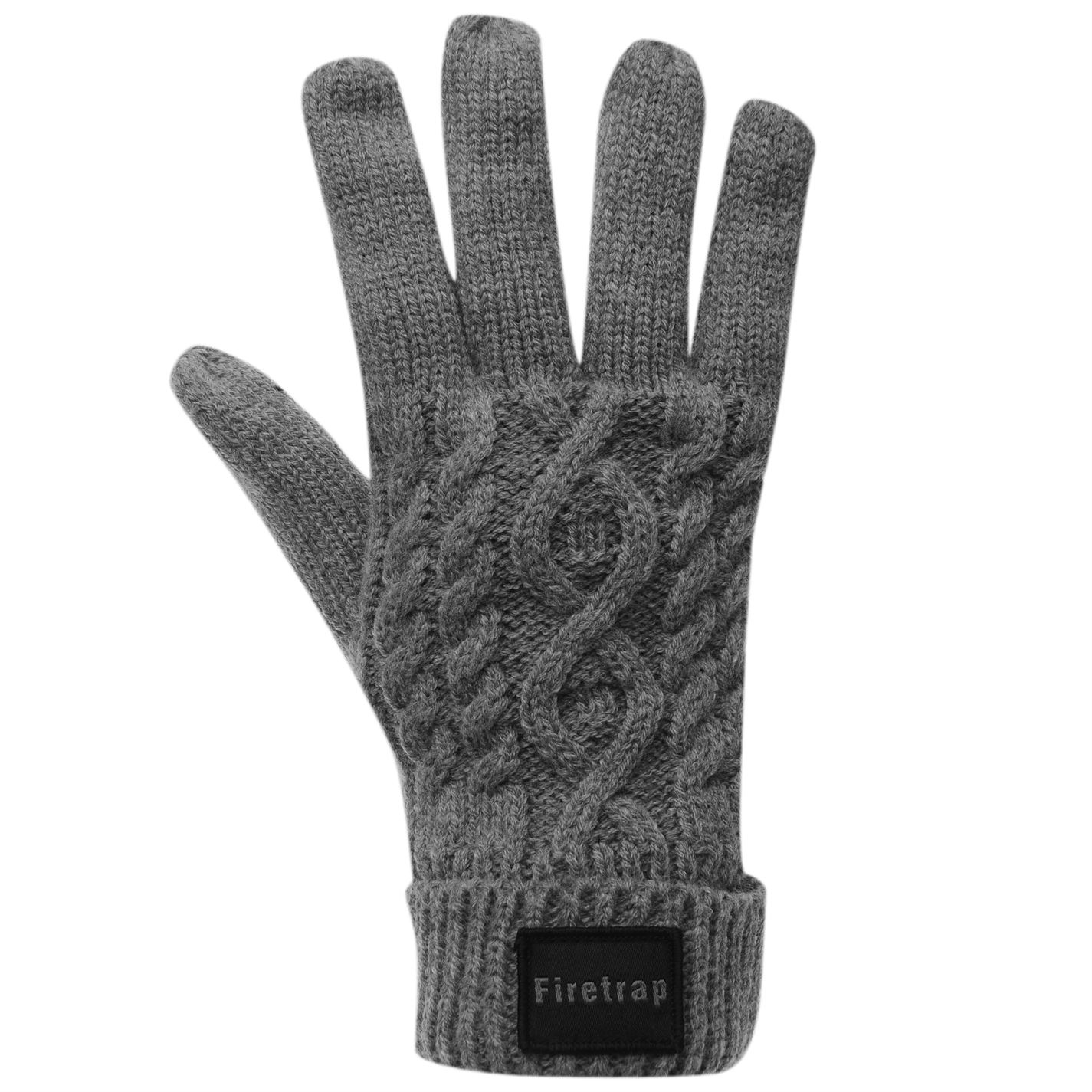 Mens Firetrap Cable Knit Gloves Knitted Winter New