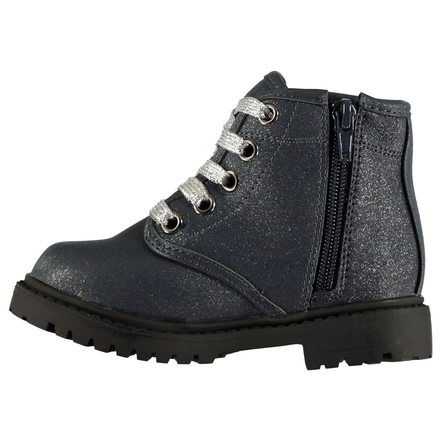 Character Lace Infants Girls Boots Rugged Laces Fastened Zip Textured