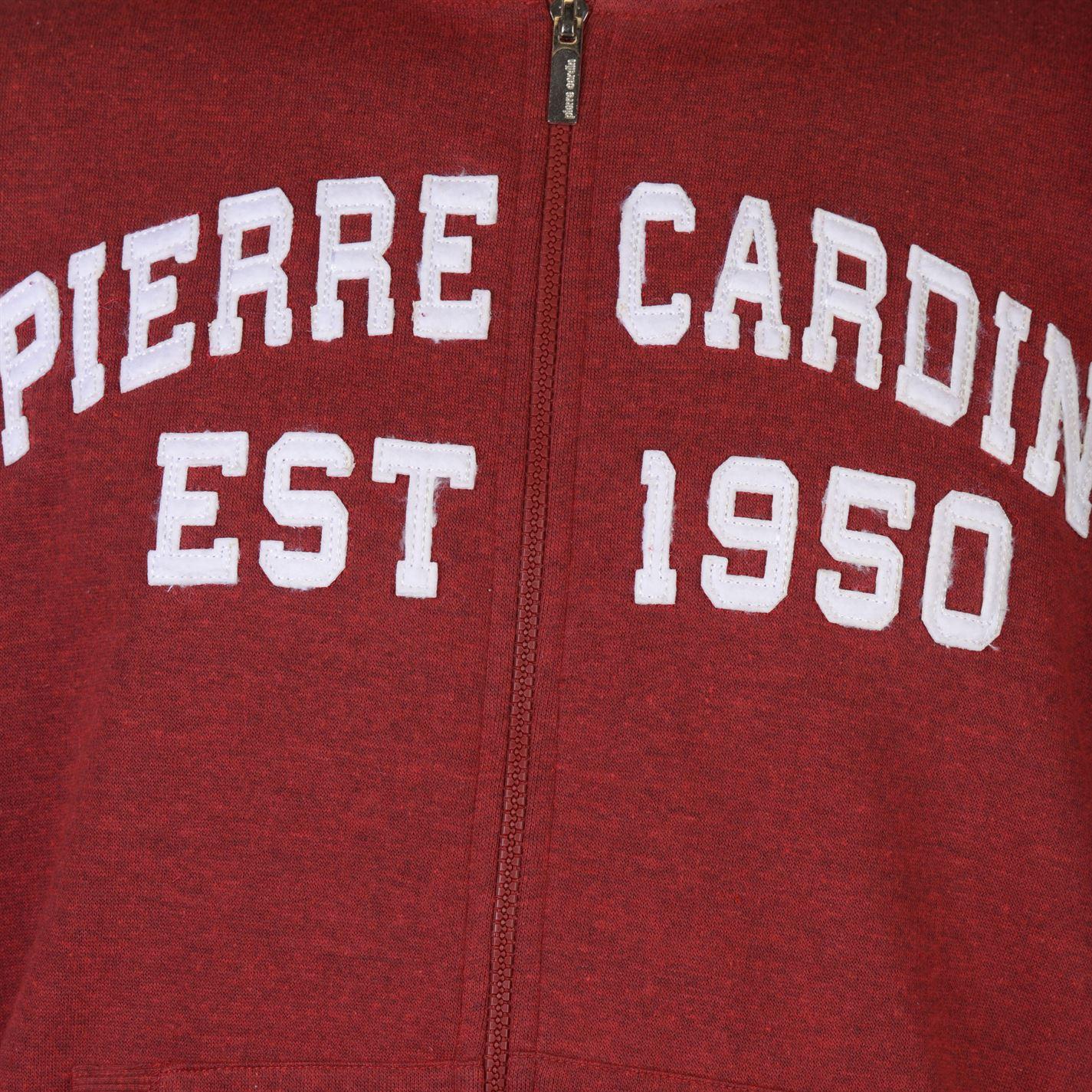 Pierre Cardin Applique Zip Hoodie Mens Gents Hoody Hooded Top Zipped