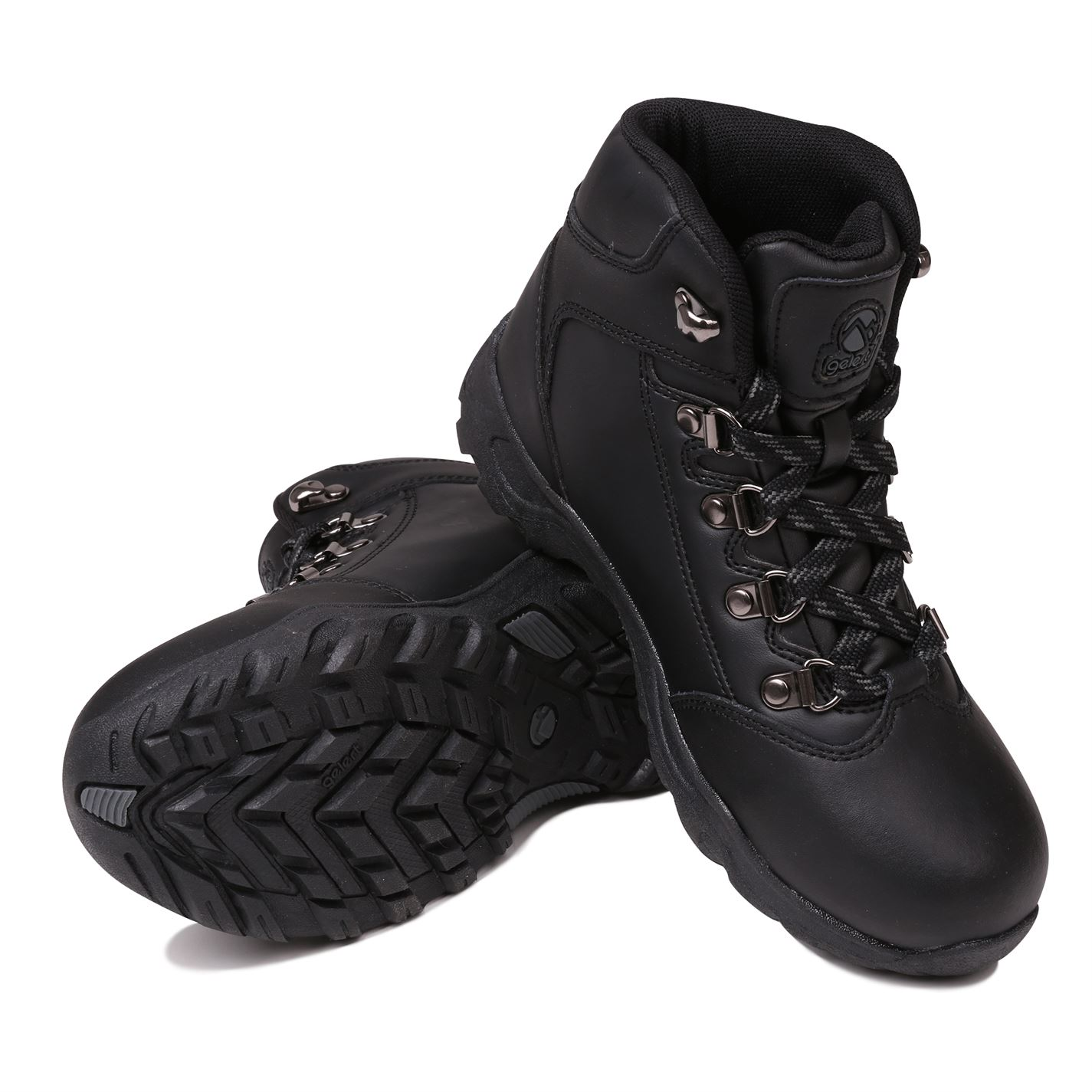 Gelert Kids Leather Walking Boots Metal D Rings Full Lace Up Outdoor Junior Boys