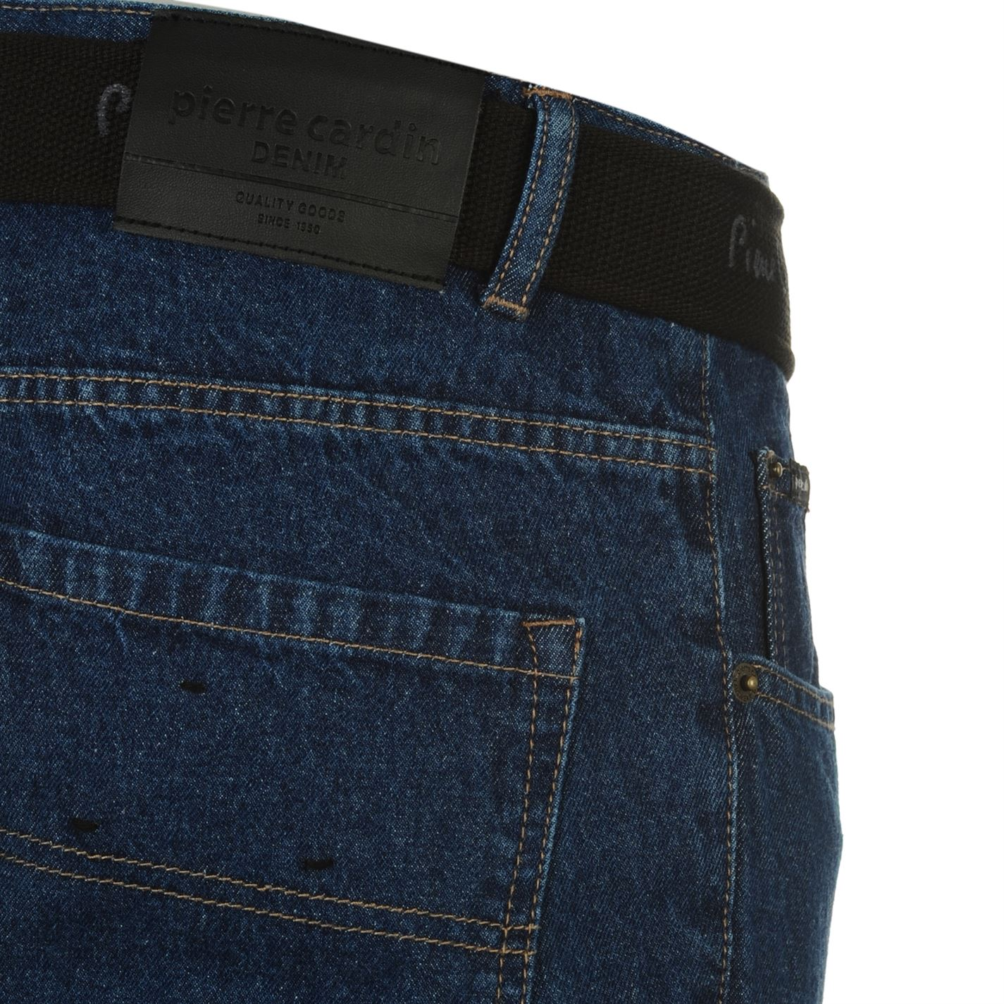 Pierre Cardin Gents Mens Web Belt Jeans Straight Fit Denim Trousers Long Pants