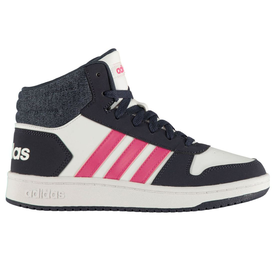 online retailer db99a cce07 Image is loading adidas-Kids-Girls-Hoops-2-0-Mid-Top-