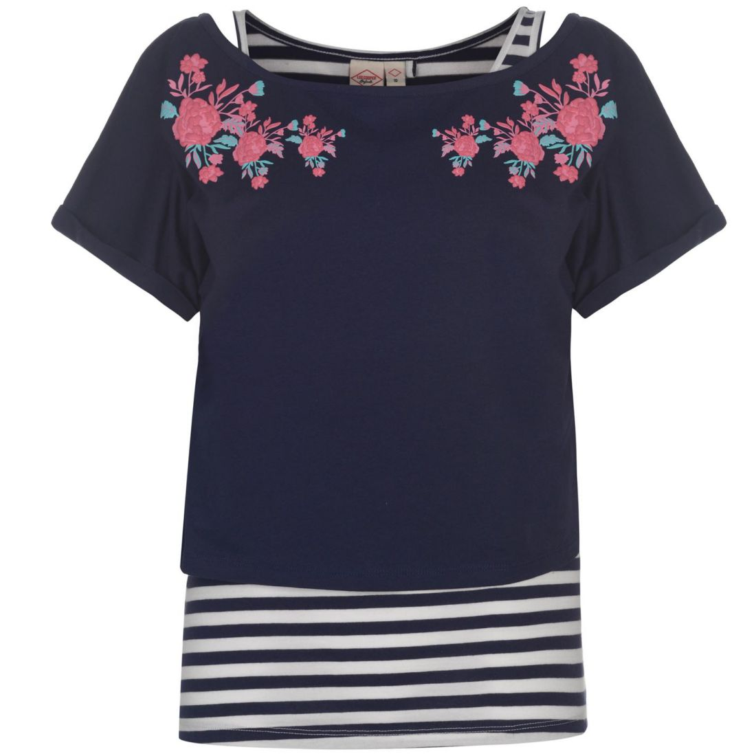 Lee Cooper Striped Double Layer T Shirt Ladies Sleeveless Tee Top Short Sleeve Den Speichel Auffrischen Und Bereichern