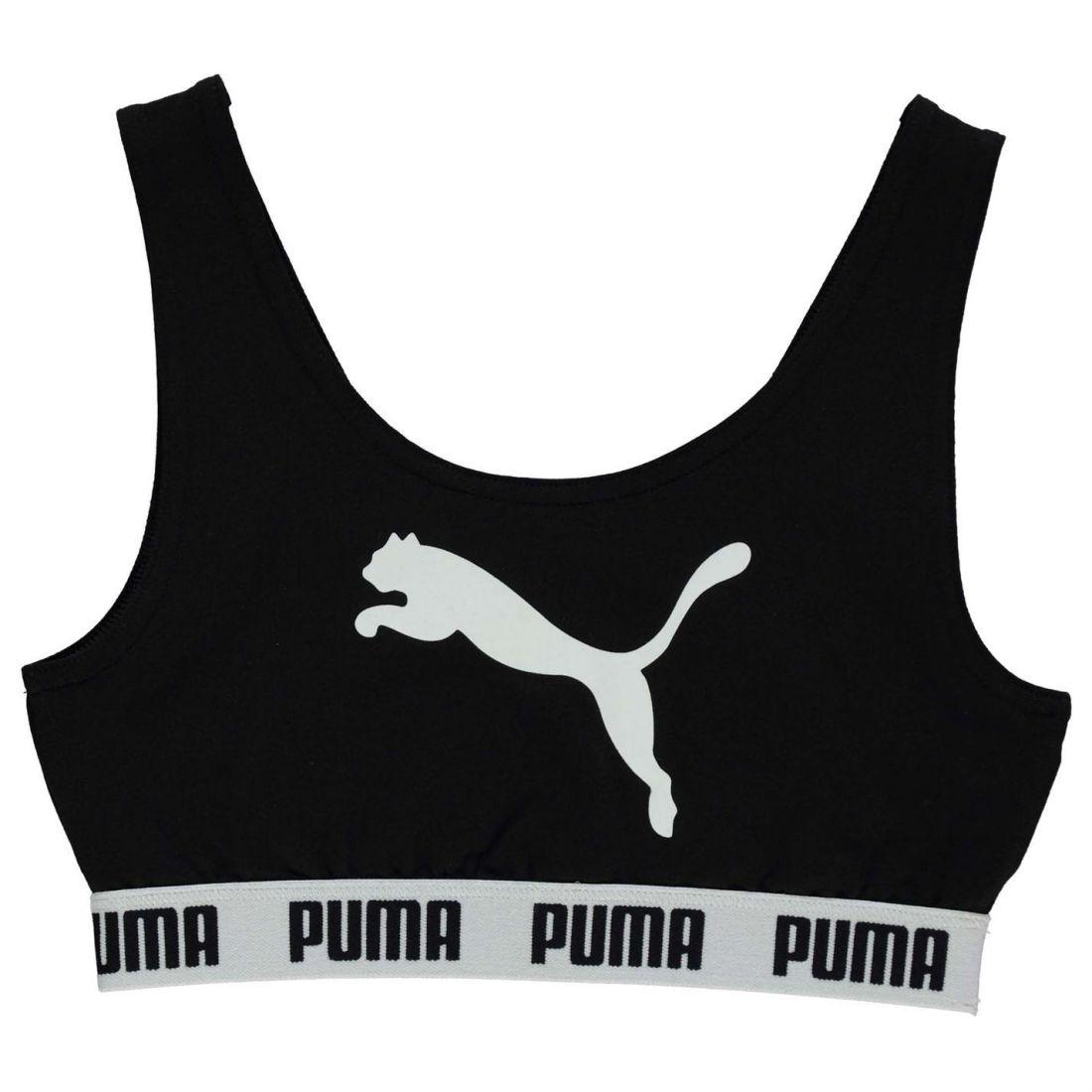 ee3bd3547a Details about Puma Kids Girls Tape Crop Top Junior Vest Tank Crew Neck  Stretch Print Sports