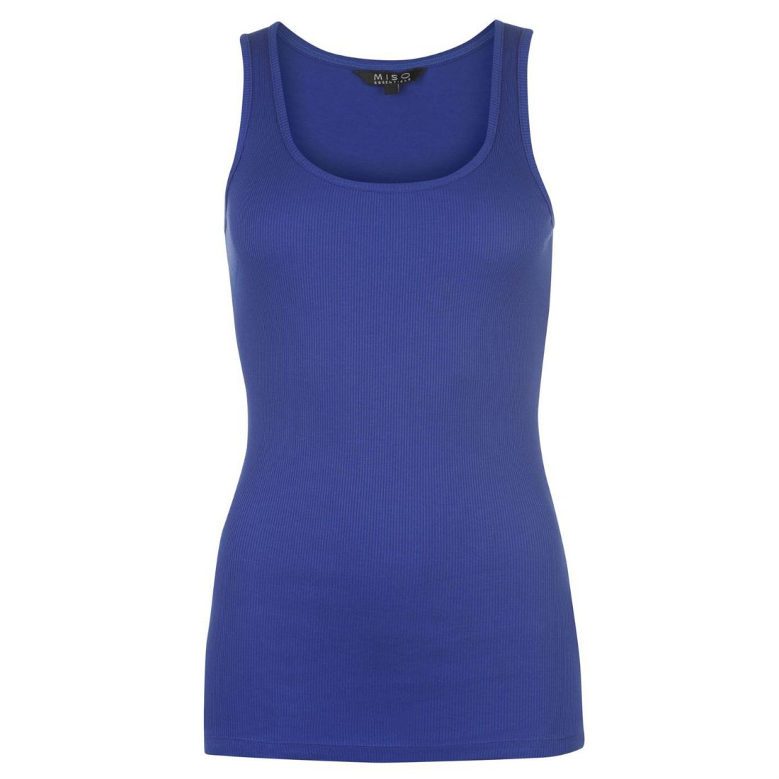 Ladies Miso Block Coloured Ribbed Tank Scooped Vest Cotton Top Sizes 8-18