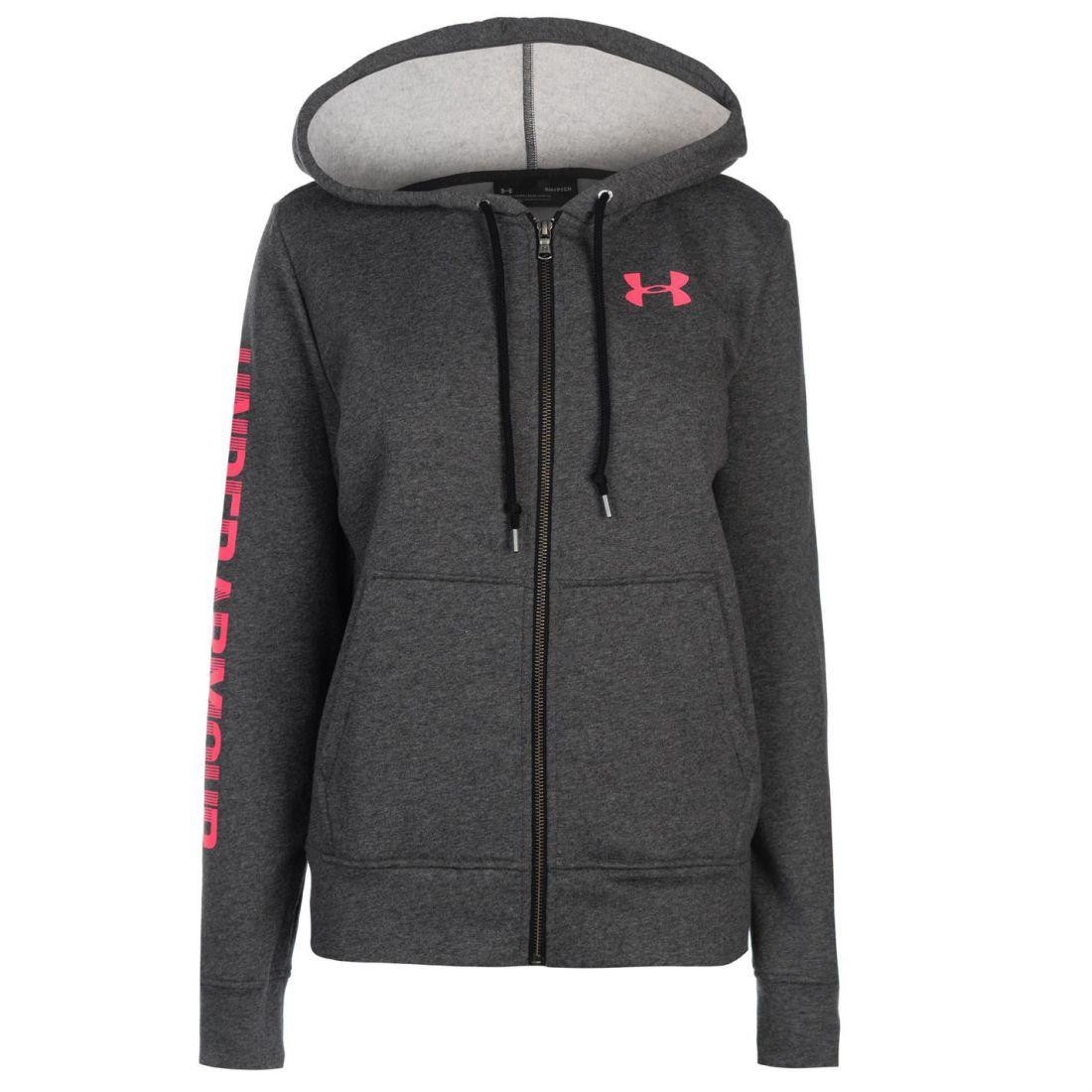 Under Armour Logo Fleece Zip Hoodie Ladies Hoody Hooded Top Full Length  Sleeve 54a275cb0b