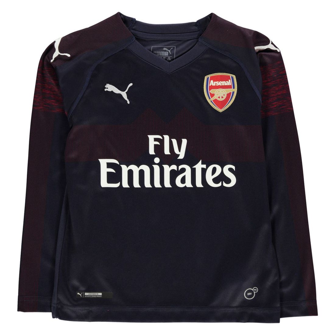 quality design 5bbb9 7c166 Details about Puma Kids Boys Arsenal Long Sleeve Away Shirt 2018 2019  Junior Domestic V Neck
