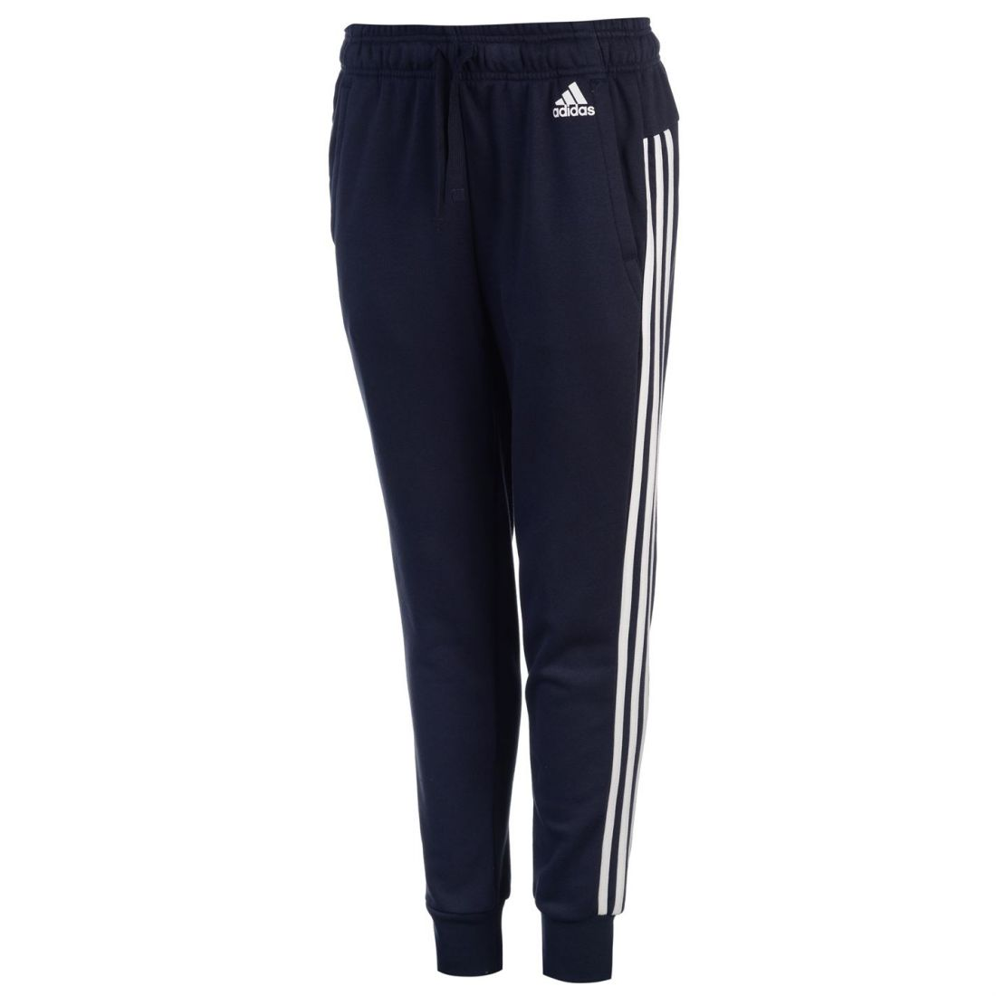 4f3170598938 adidas Essential 3 Stripe Closed Hem Pants Ladies Fleece Jogging Bottoms