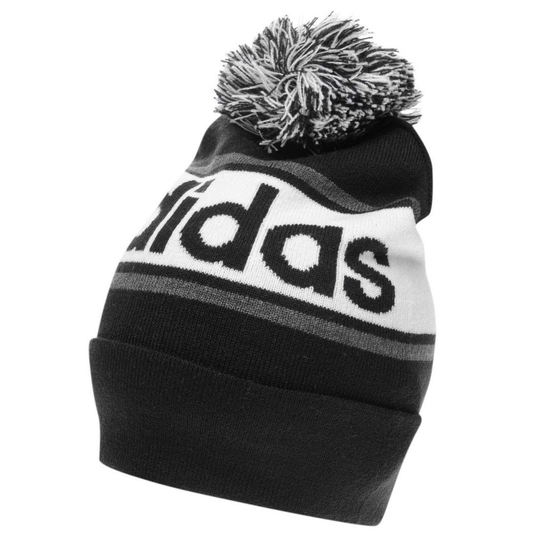 adidas Mens Linear Woolie Hat Beanie Pattern Stripe Winter Warm ... a4b9a4d99eff