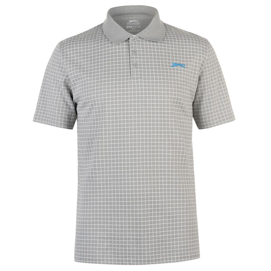 c46035b7 Slazenger Mens Check Golf Polo Short Sleeve Performance Shirt Tee ...