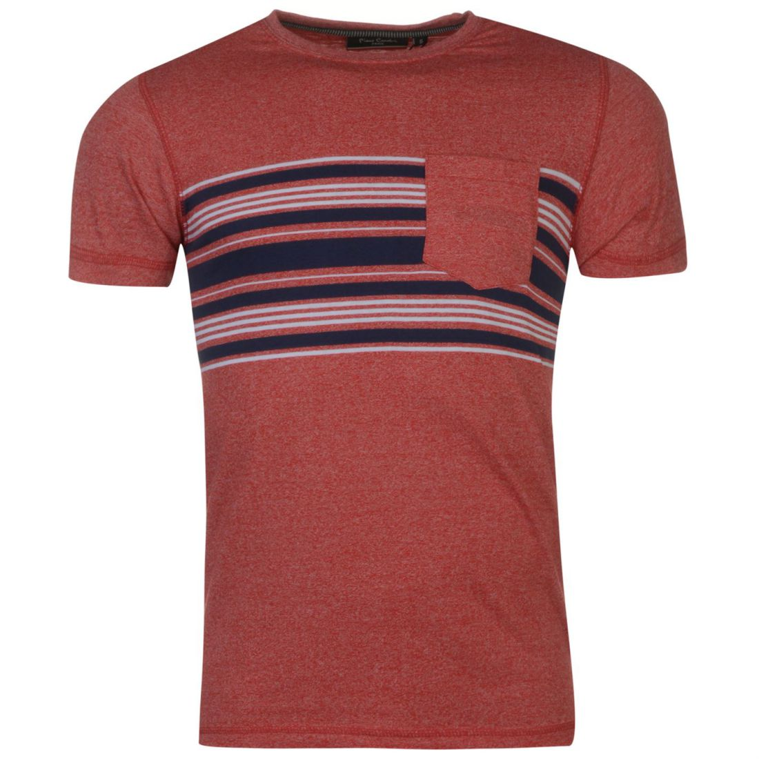 Pierre Cardin Mens Striped Pocket T Shirt Crew Neck Tee Top Short ... 51dfdca9f