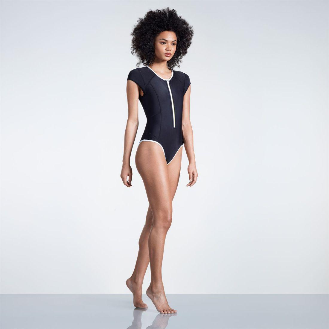 0895f62330035 Image is loading Slazenger-Zip-Short-Sleeve-Swimsuit-Ladies-Swimming-Pool-