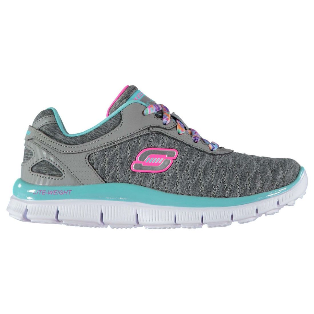 016be7ca937b Details about Skechers Kids Appeal Girls Trainers Shoes Lace Up Textile  Memory Foam Casual