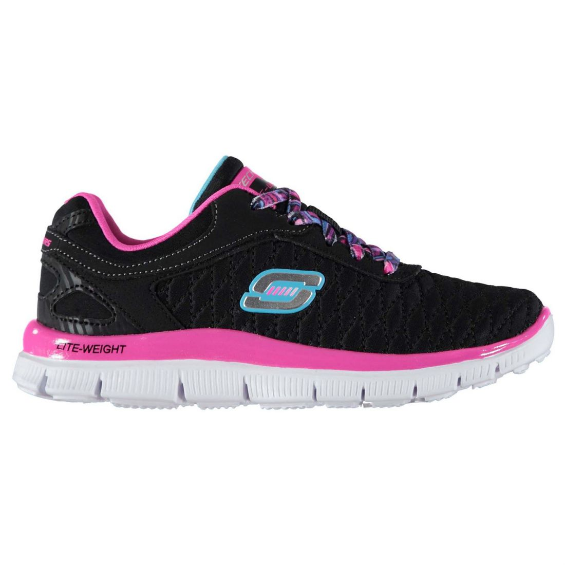 44d32819cb39 Skechers Kids Appeal Girls Trainers Shoes Lace Up Textile Memory Foam Casual