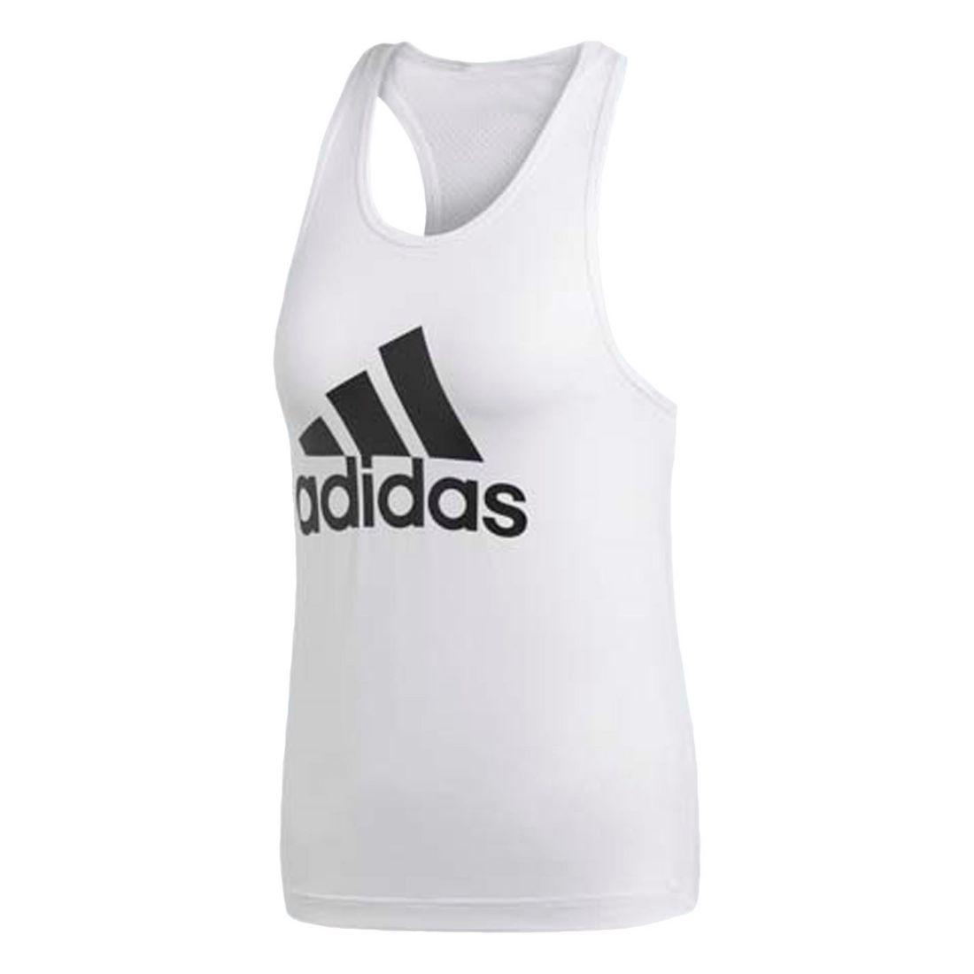 4be903c7c78e adidas Womens D2M Logo Tank Top Performance Vest Crew Neck ...