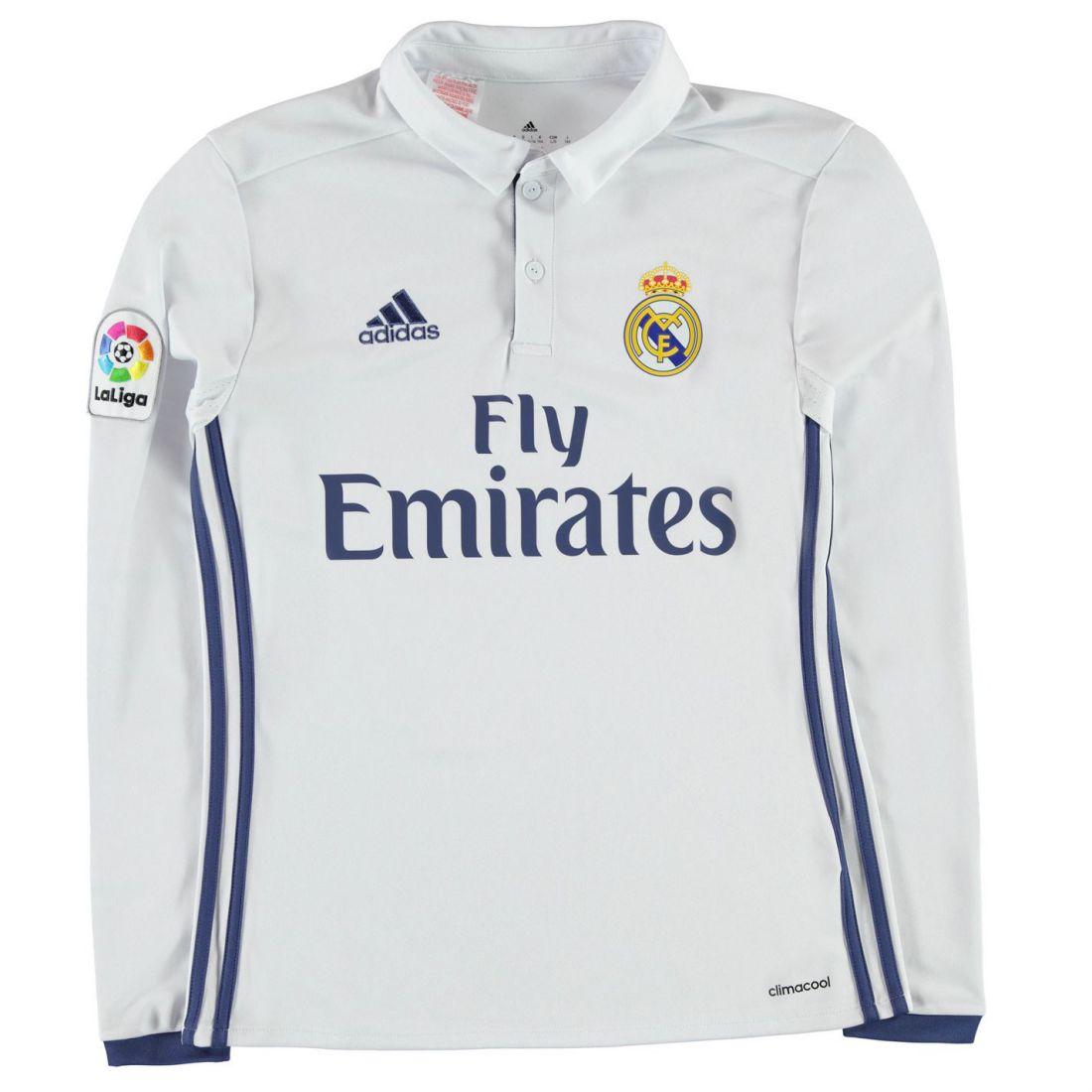 4f2b1b6cd adidas Kids Real Madrid Long Sleeve Shirt Juniors Top Button Placket ...