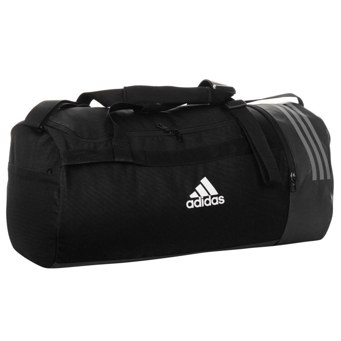 559d7fd84 adidas Unisex Convertible 3 Stripe Duffel Bag Holdall Zip Mesh ...