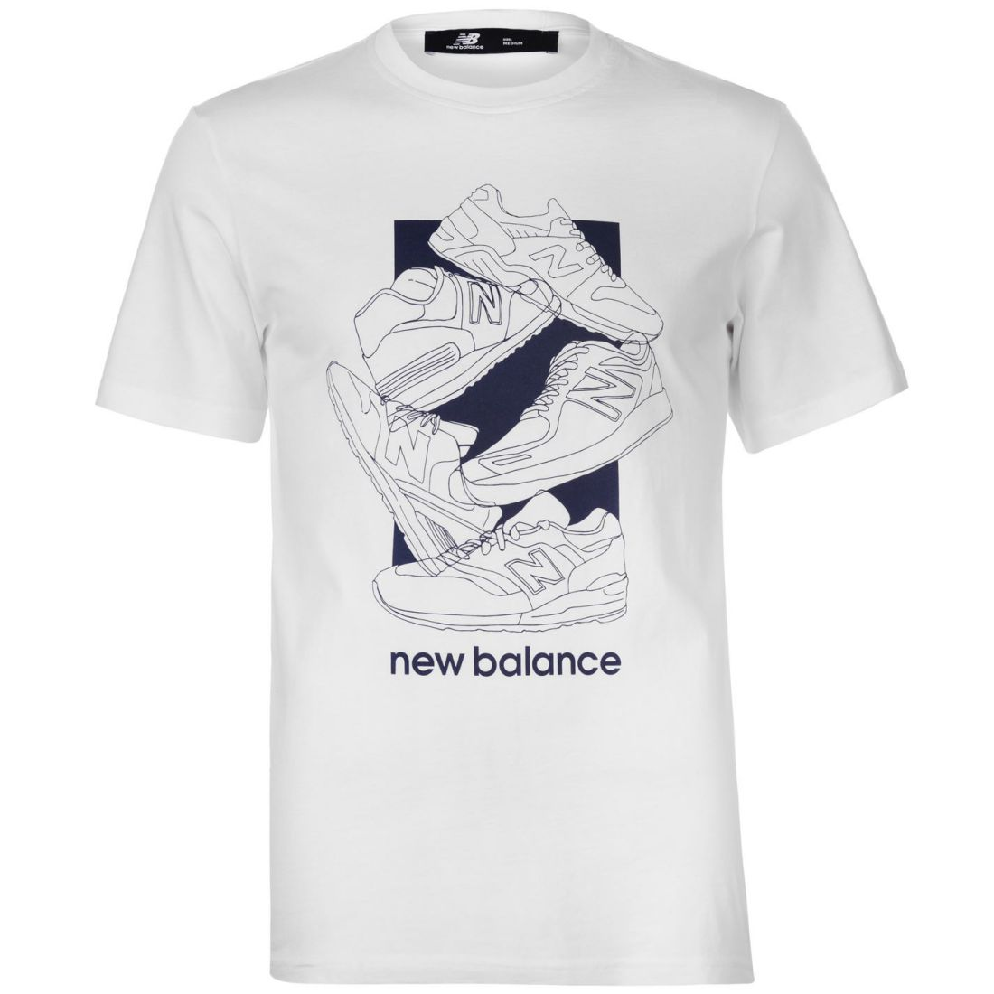 77580ffedaf0a Details about New Balance Mens 5 Shoe QTT T Shirt Crew Neck Tee Top Short  Sleeve Round