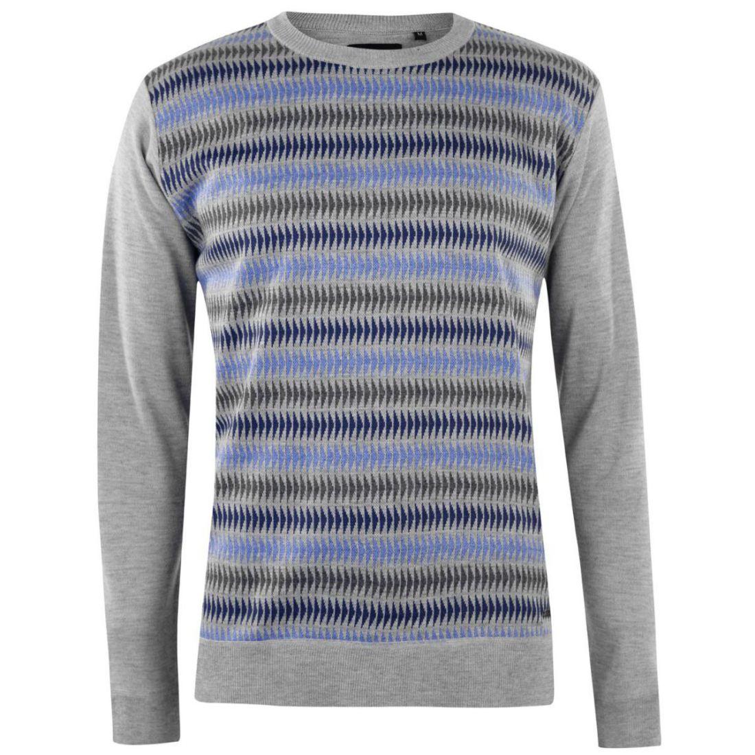 dc12c22478b18c Pierre Cardin Mens Geo Knit Jumper Sweater Pullover Long Sleeve Crew ...