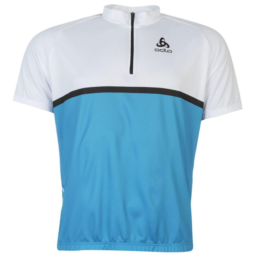 0a234f399 Odlo Mens Cycling Top Short Sleeve Tee Shirt Quarter Zip Elasticated ...