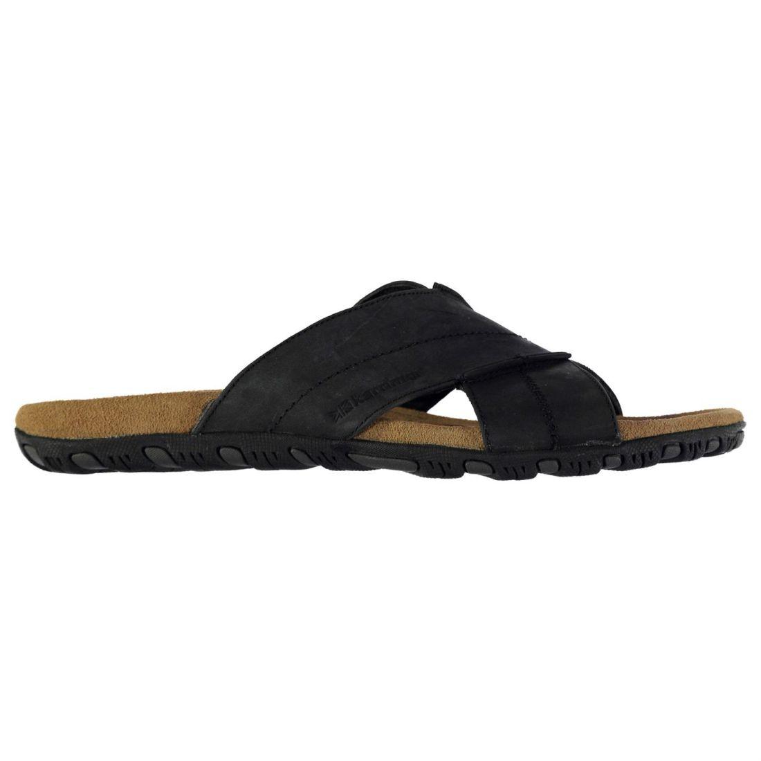 867ba19096c Karrimor Mens Lounge Slide Leather Sandals Summer Shoes Cross Over Strap