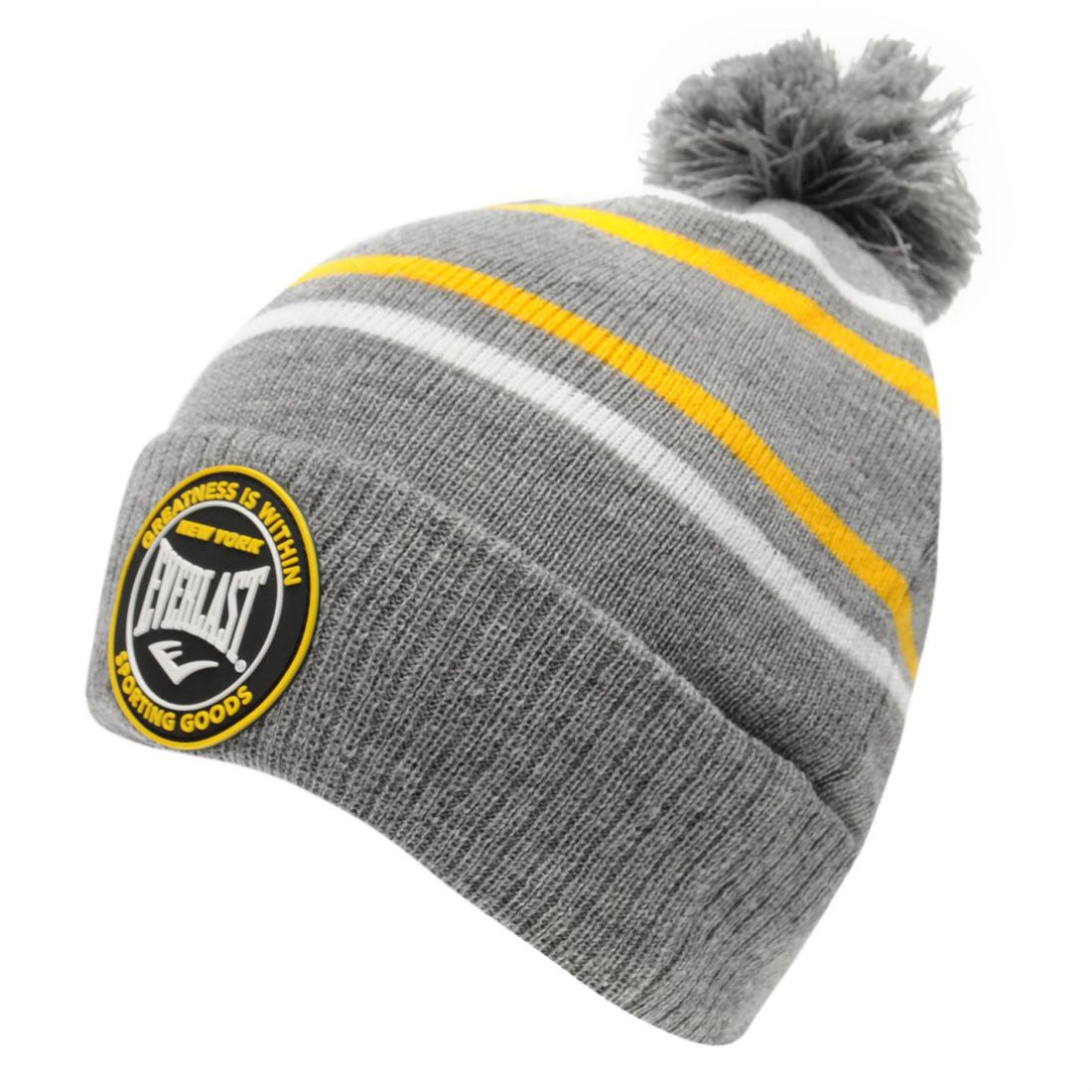 Details about Everlast Mens Showdown Hat Bobble Stripe Knitted 78c5808a3e7