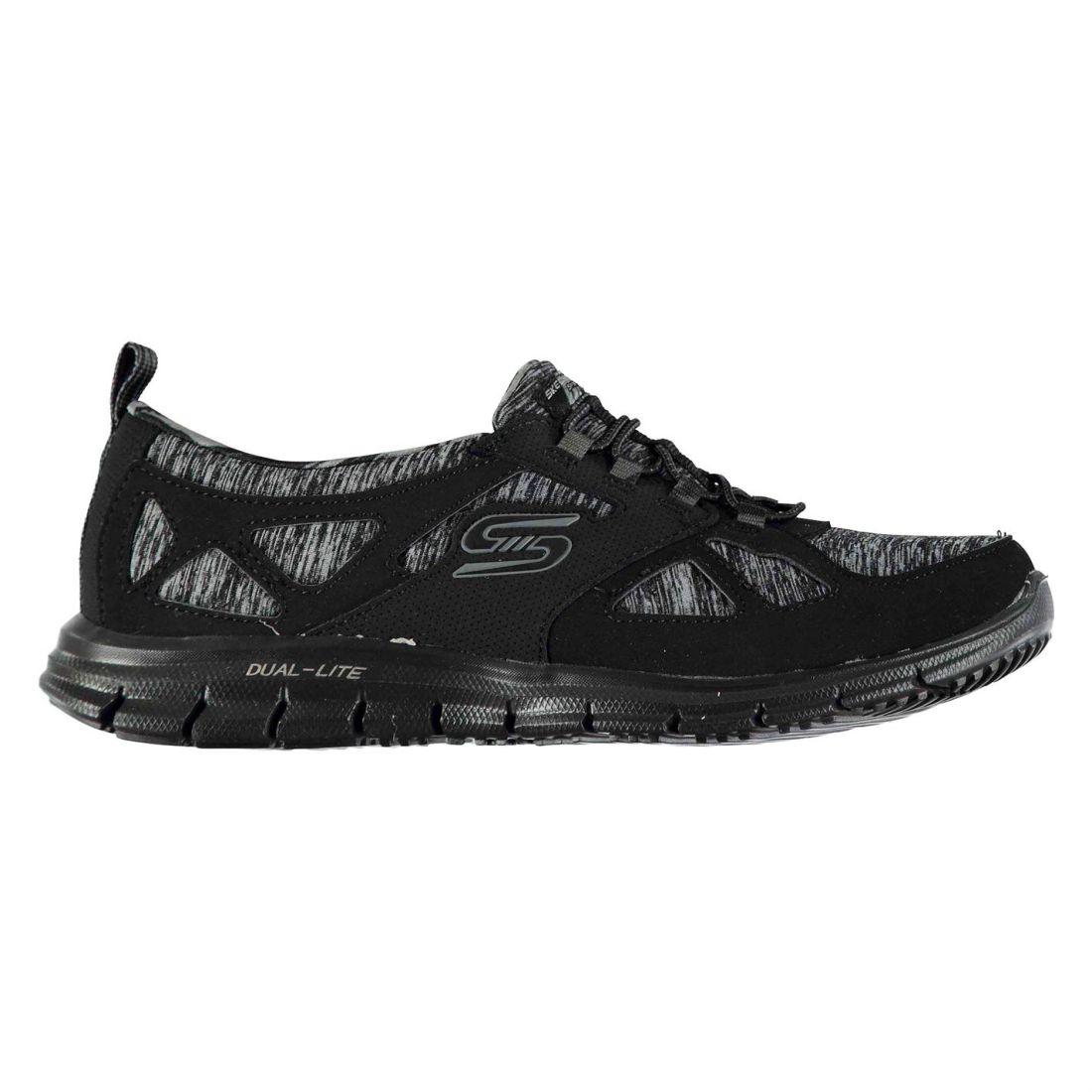 a Ladies Sneakers pannelli Memory Glider Black Skechers Foam Leggero design Runners U1w4UYx7