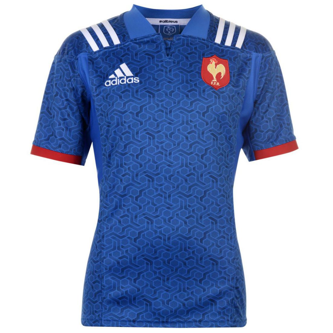 3829c744eb2 adidas Mens France Home Rugby Jersey Shirt Short Sleeve V Neck ClimaLite  Mesh